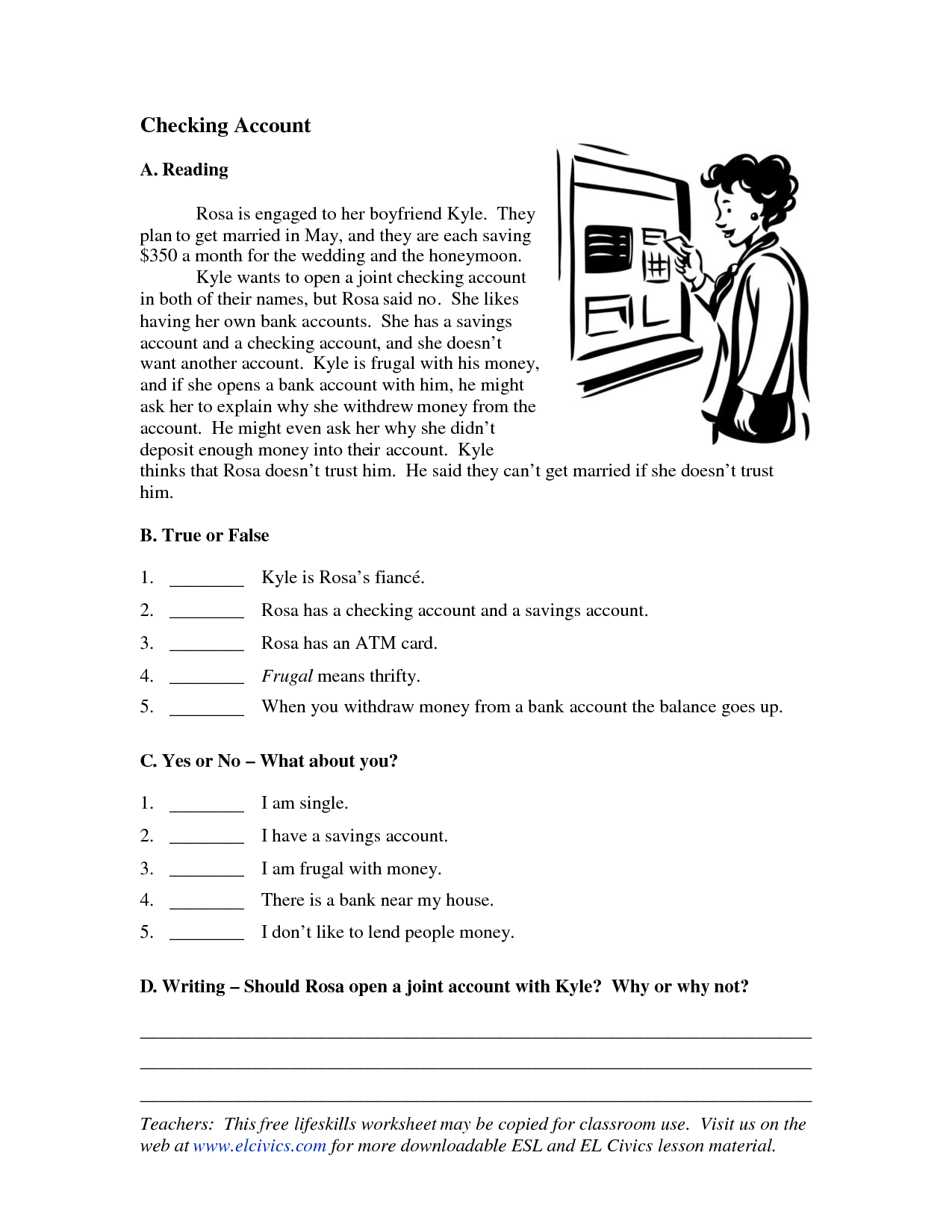 12 Best Images Of Money Worksheets For Esl Adults