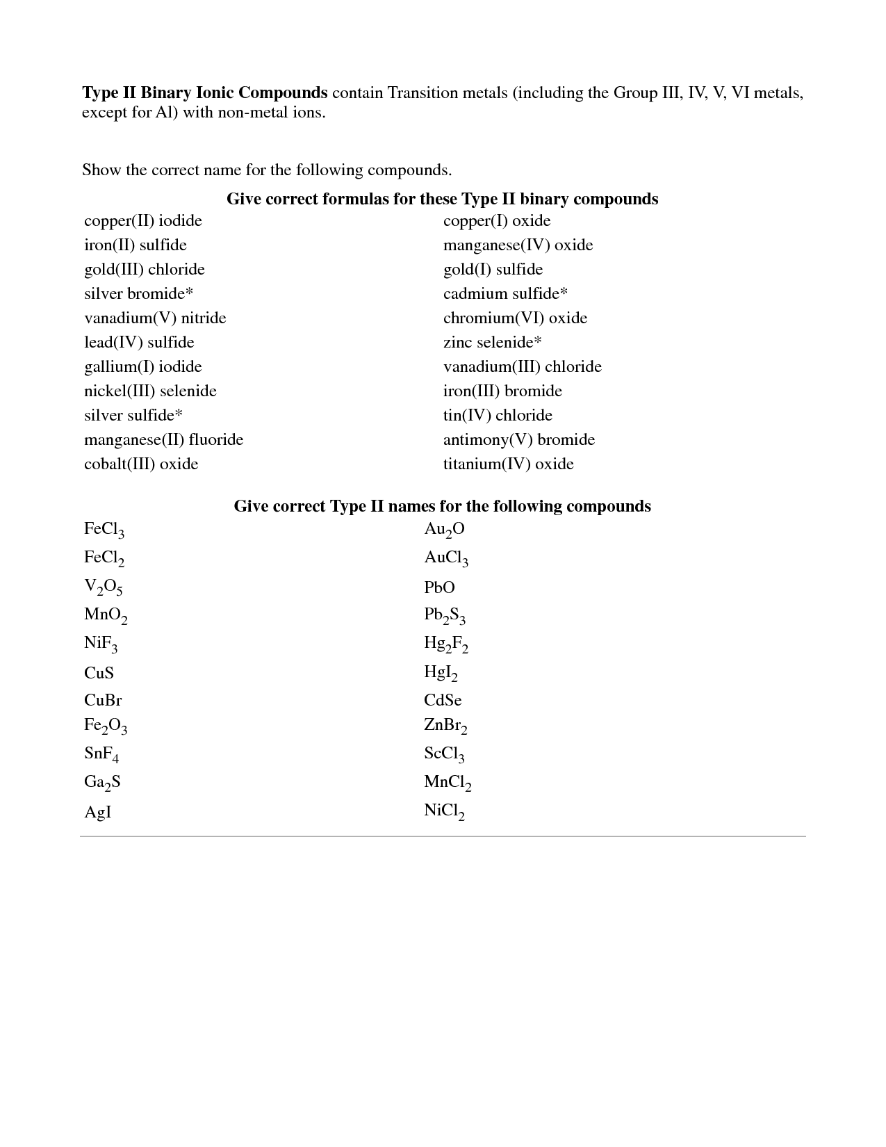 Writing Formulas Ionic Compounds Worksheet Answers