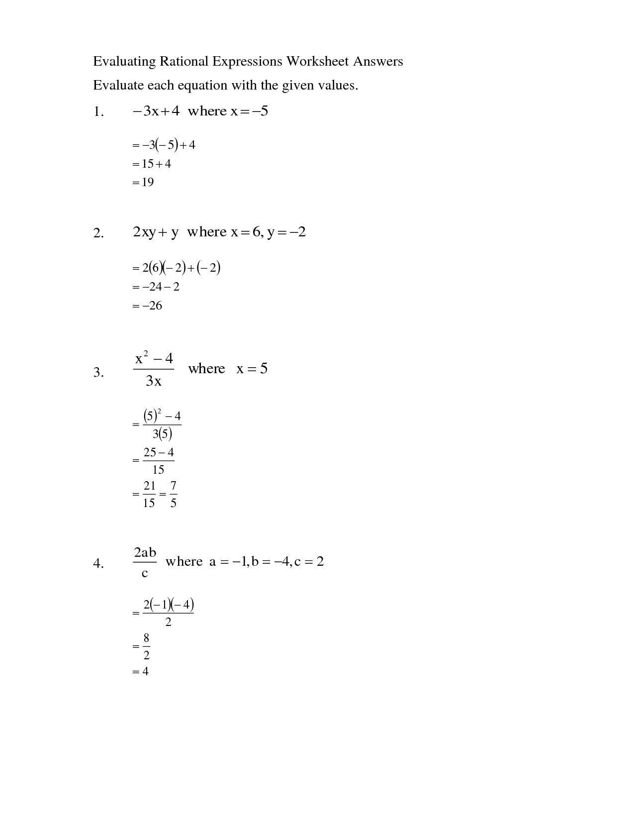 11 Best Images Of Evaluating Algebra Expressions Worksheets