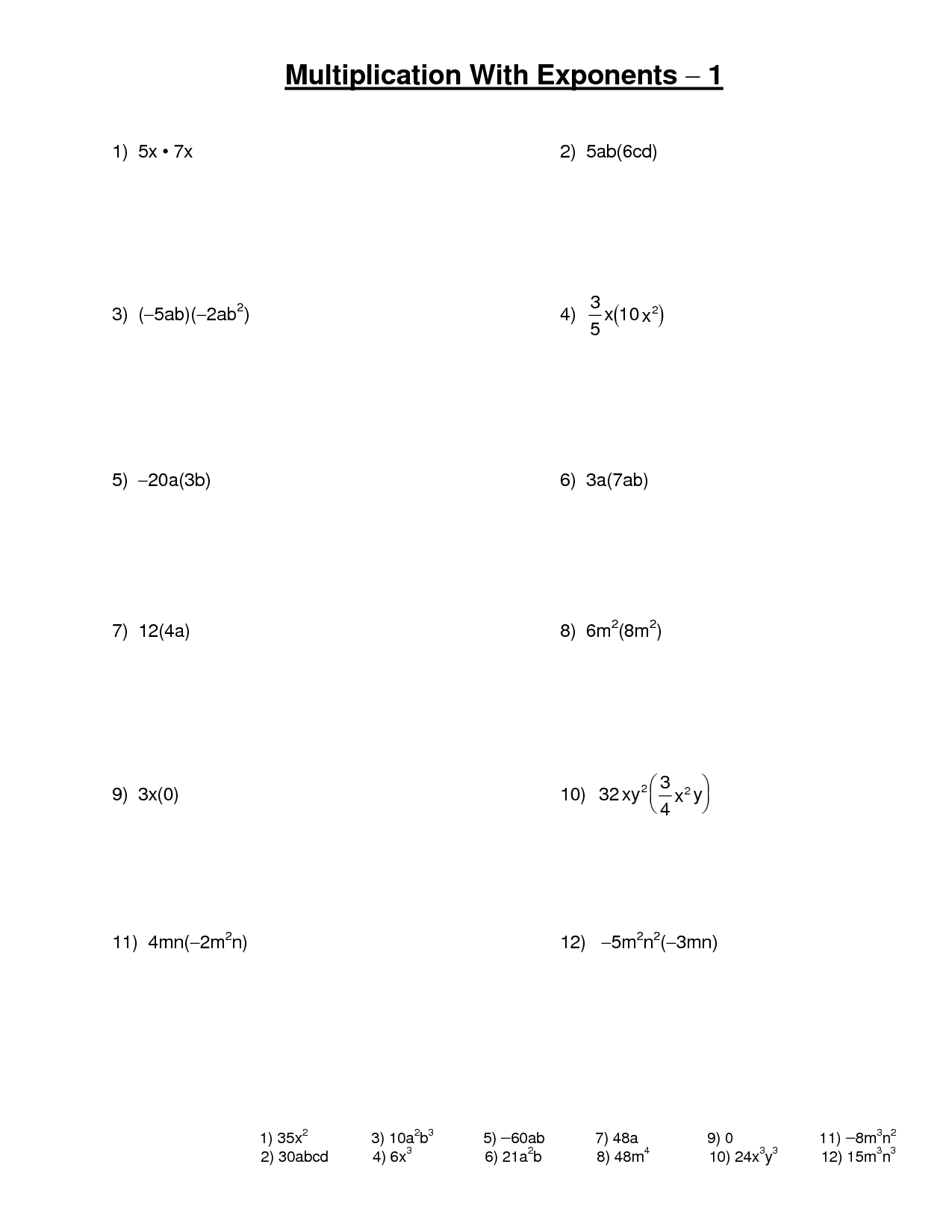 16 Best Images Of Multiplication Math Worksheets Exponents