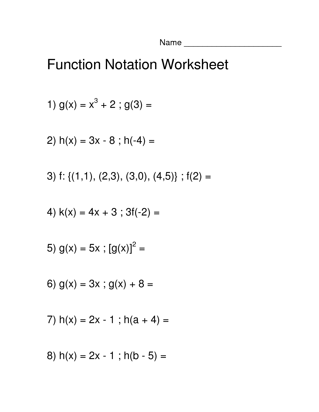 Worksheets Algebra 1 Function Notation Worksheet Answers
