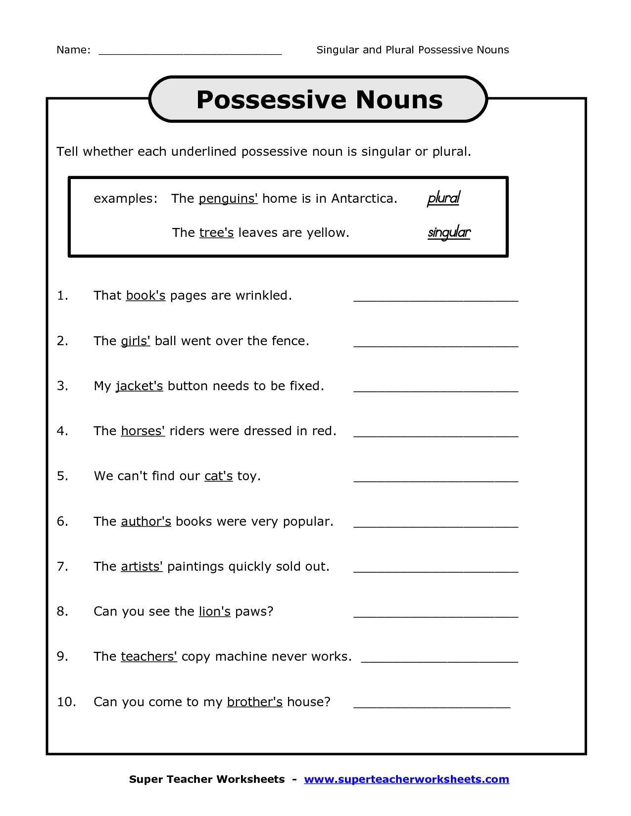18 Best Images Of Possessive Pronoun Worksheets 3rd Grade