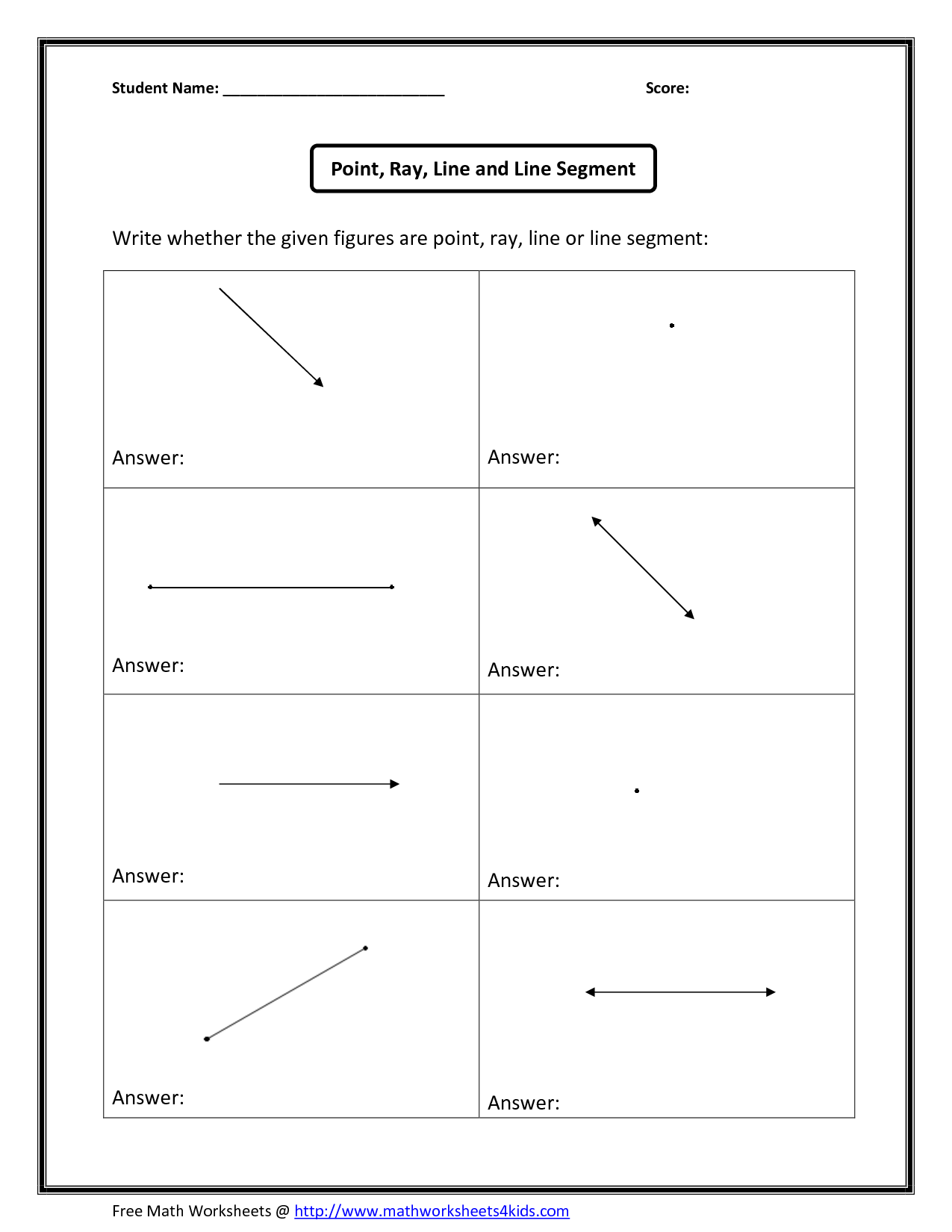 Identifying Lines Segments Rays Points And Worksheet
