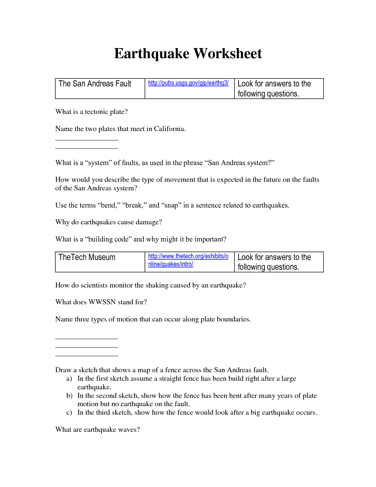 14 Best Images Of Causes Of Earthquakes Worksheet