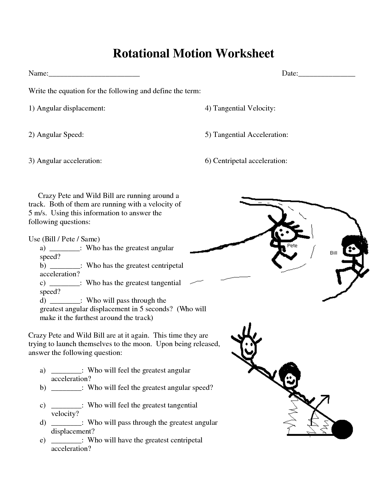 Force And Motion Ninth Grade Worksheet