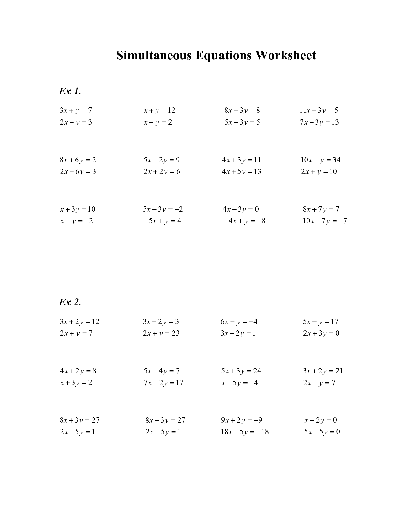 Simultaneous Linear Equations Worksheet 8th Grade