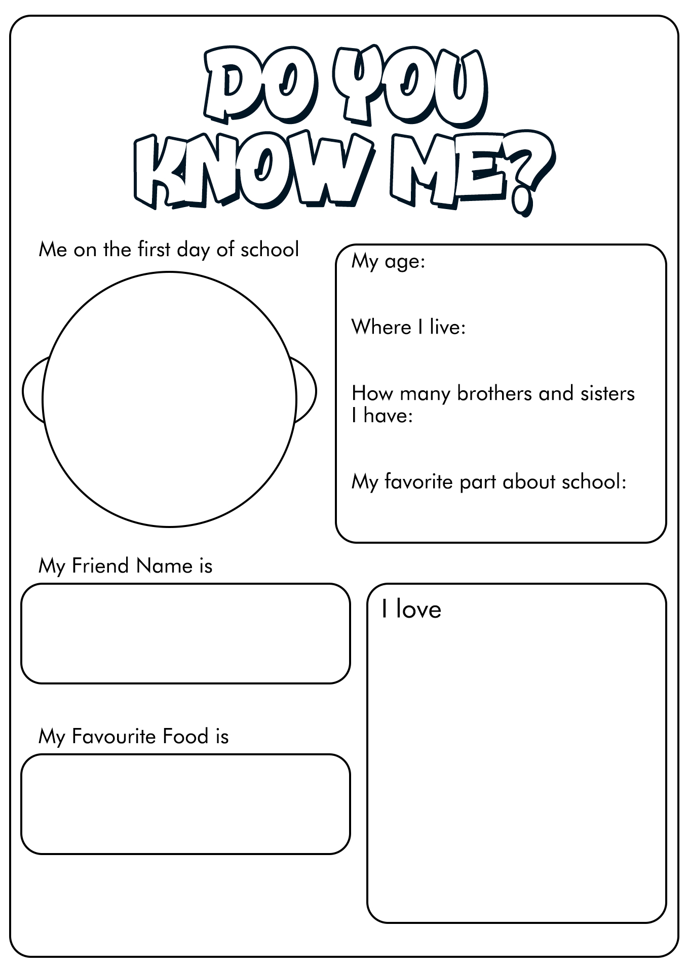9 Best Images Of Who Am I Worksheets For First Day Of
