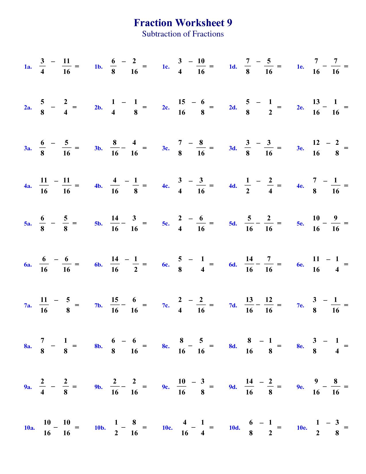 Fraction Worksheet For Grade 8