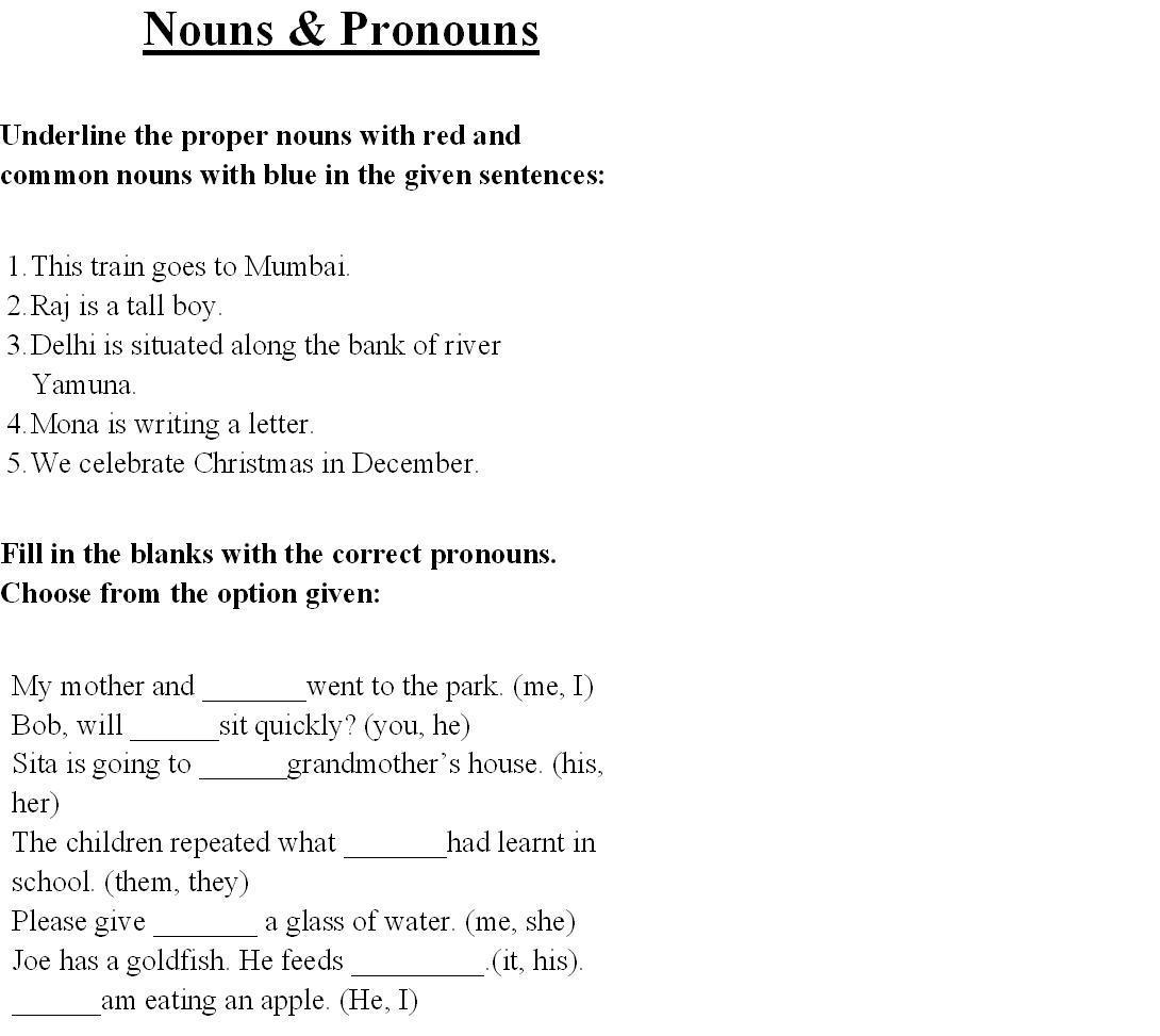 Nouns Printable Worksheet For 8th Grade