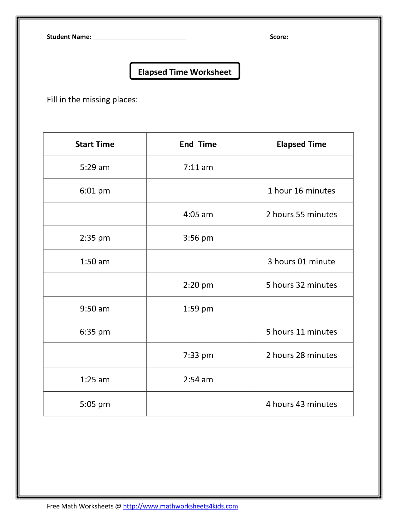 13 Best Images Of Am And Pm Time Worksheets