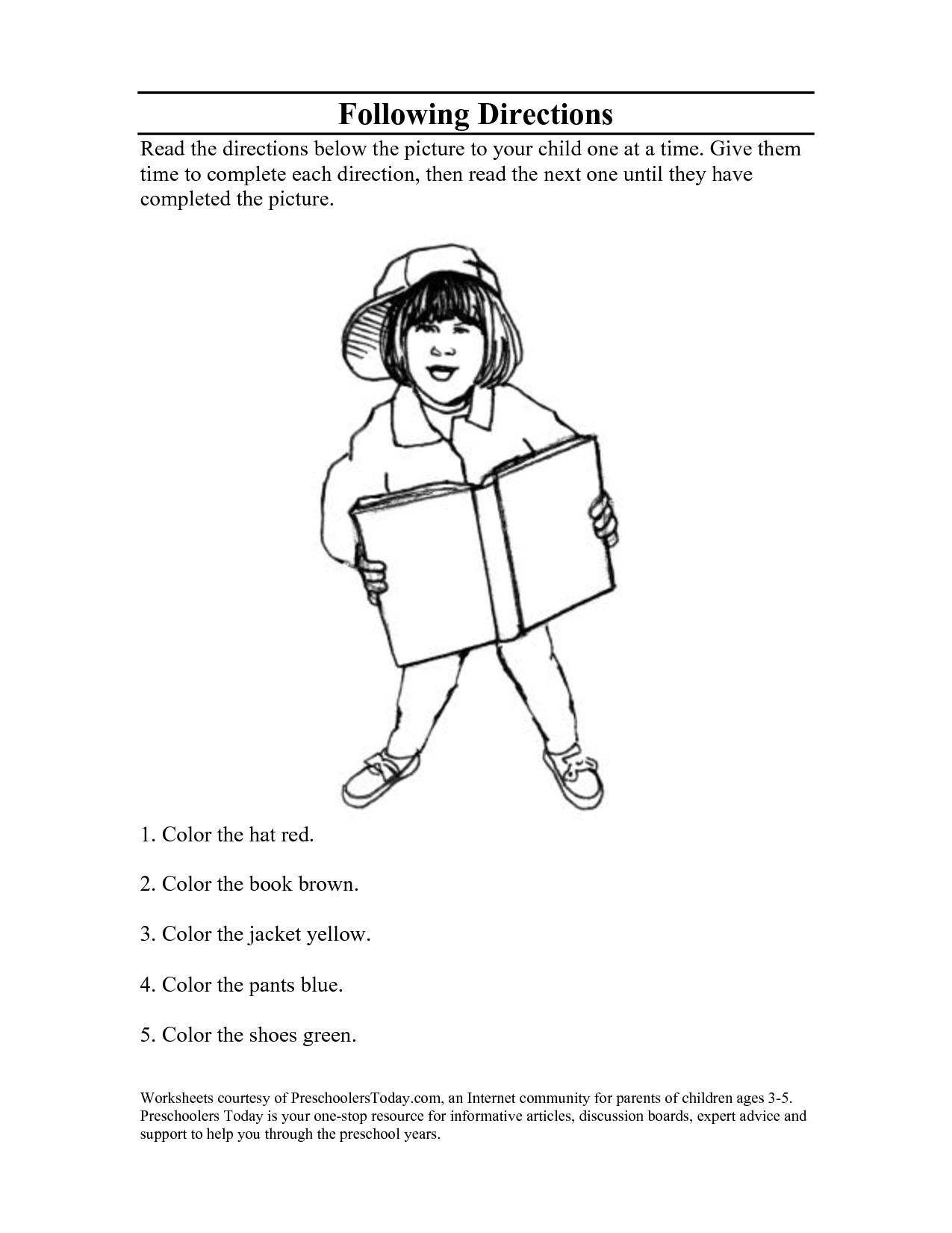 Following Directions Worksheets Coloring Pages