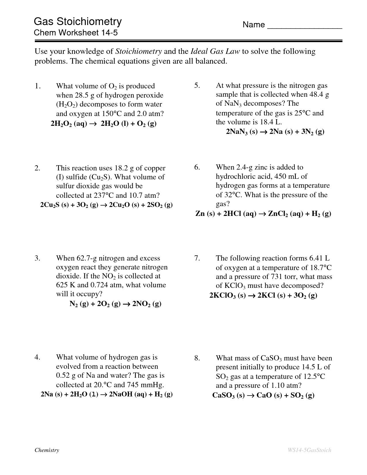 11 Best Images Of Stoichiometry Worksheet Answer Key