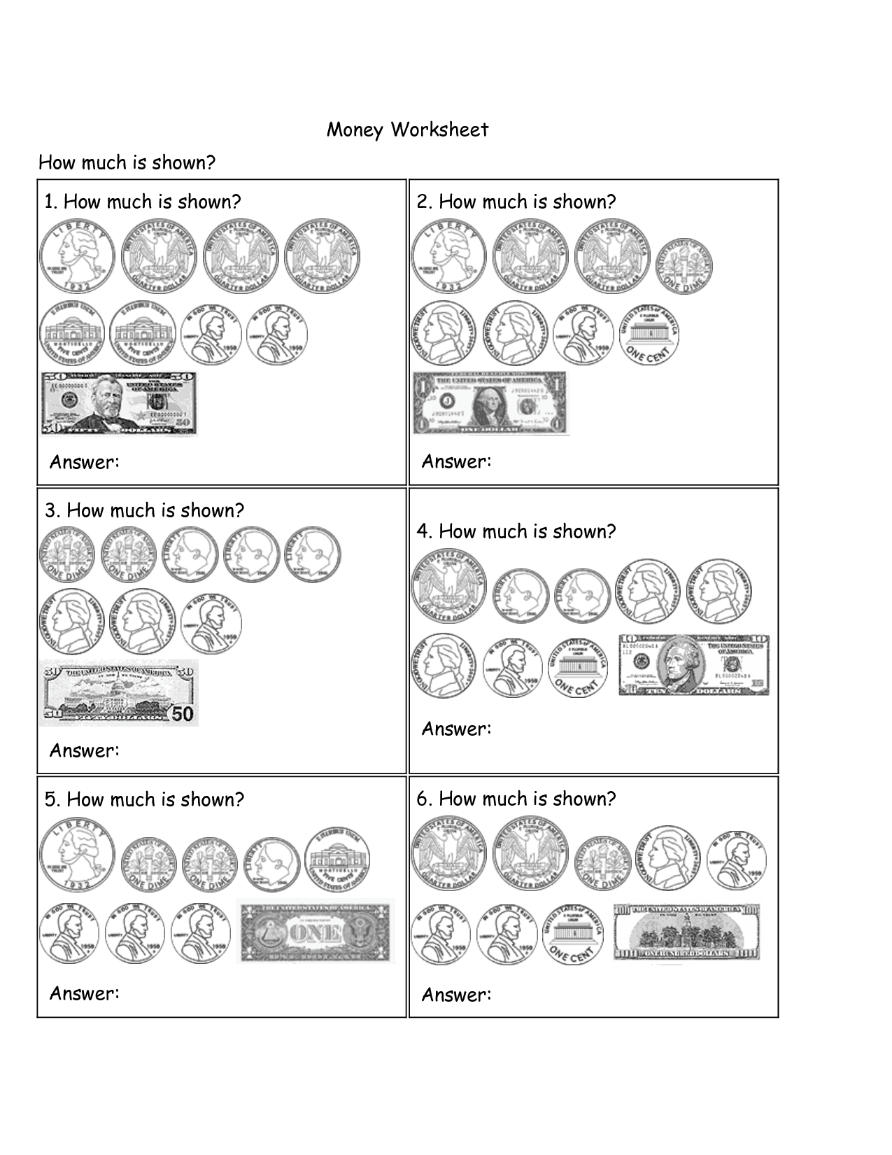 Money Identification Worksheet