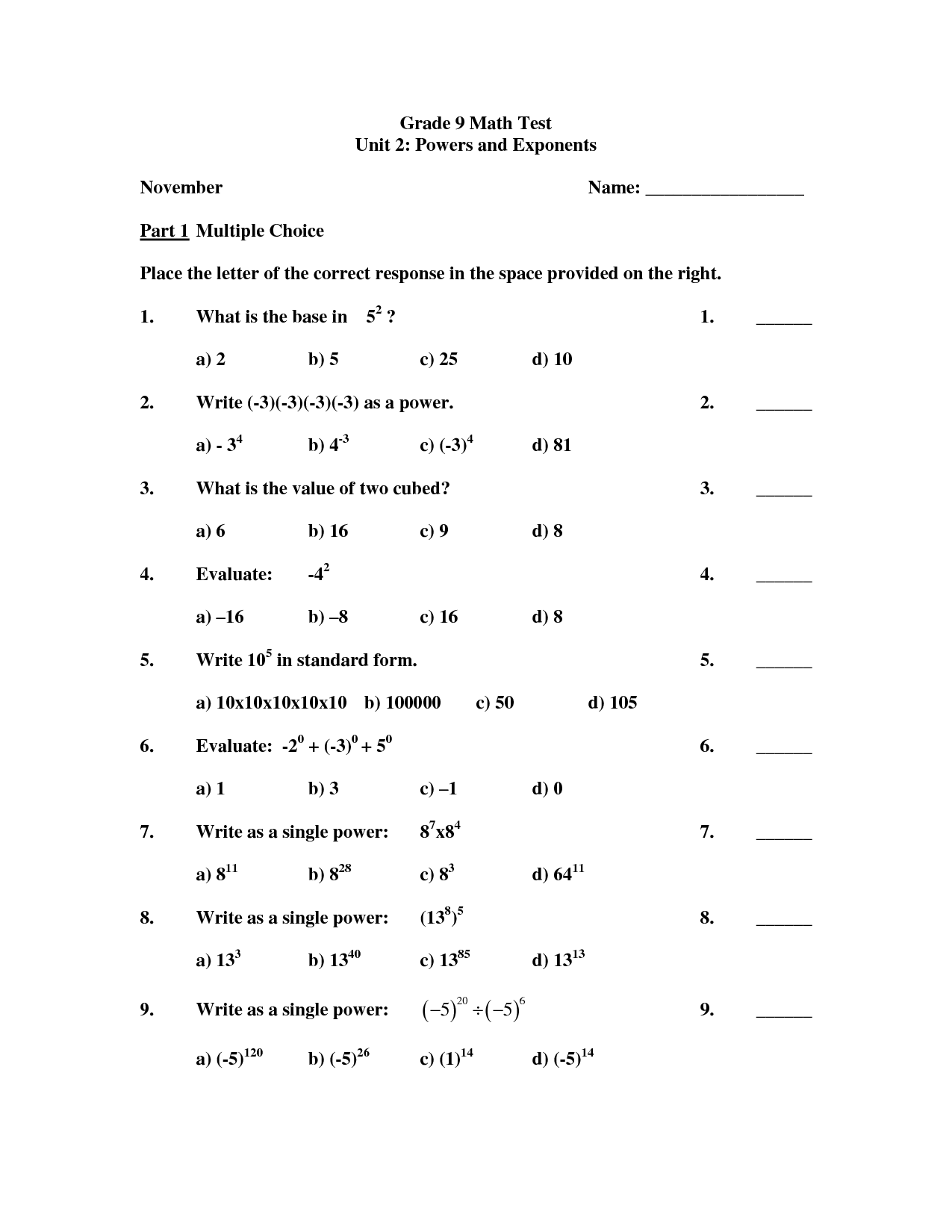 18 Best Images Of Math Test Worksheets