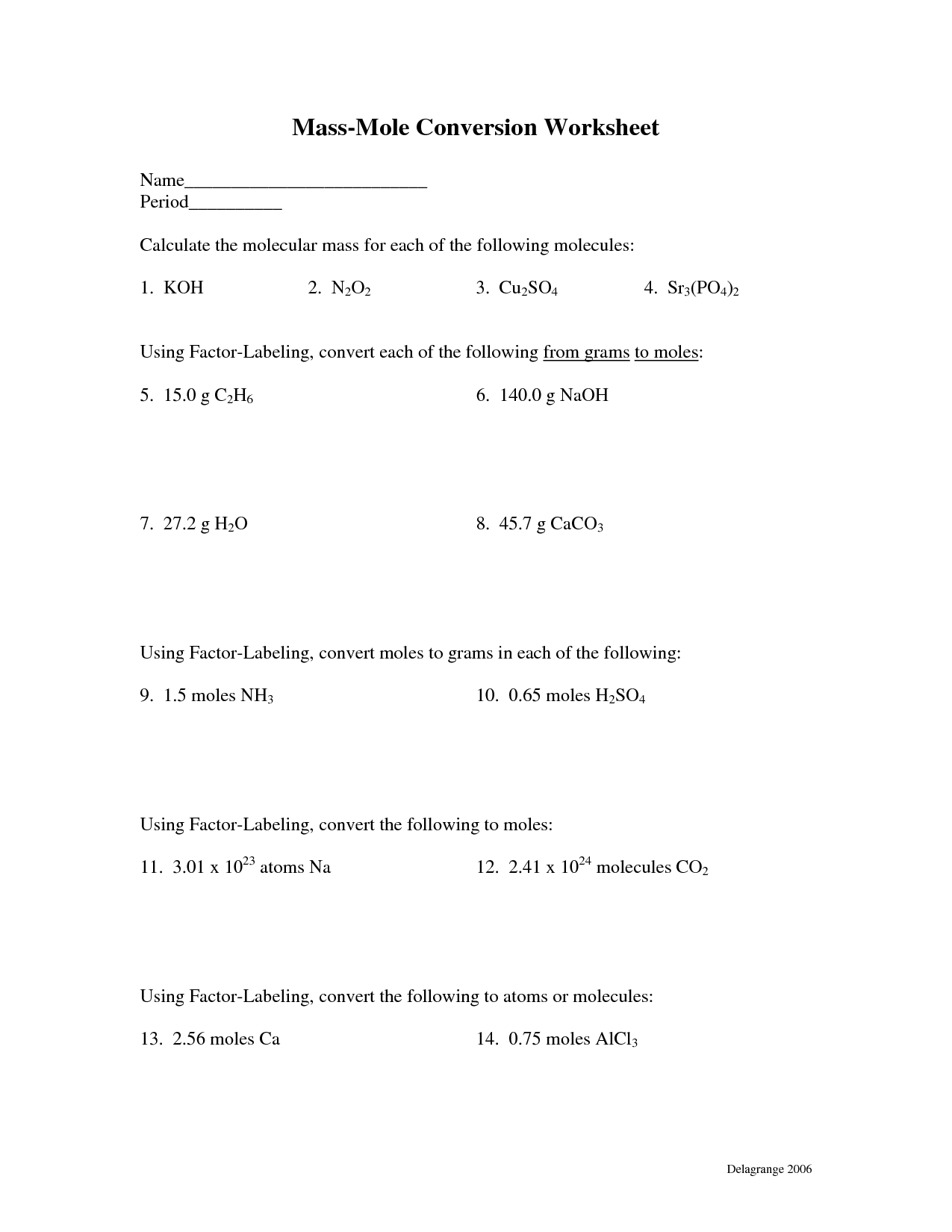Gram Formula Mass Worksheet Answers