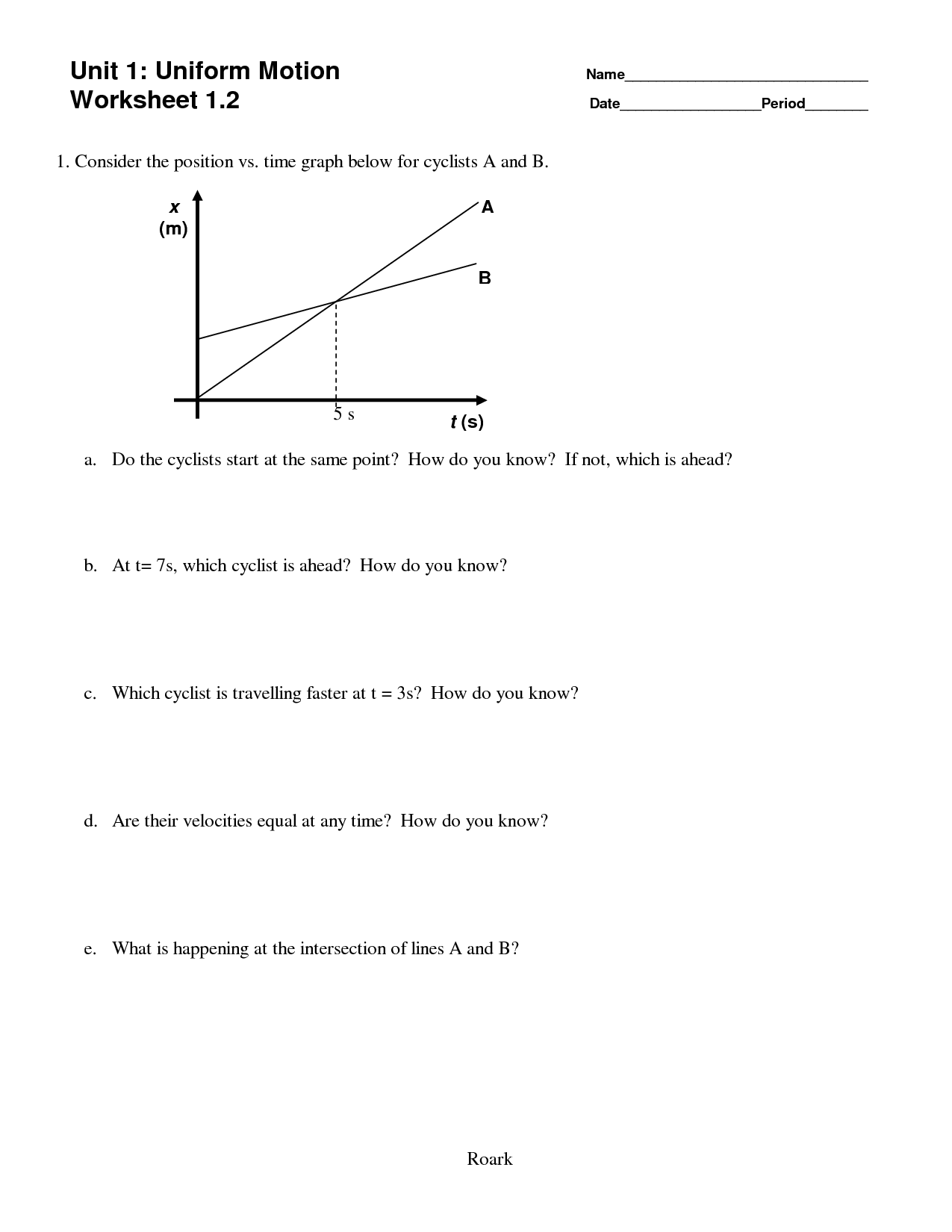 11 Best Images Of Motion Worksheet 6th Grade