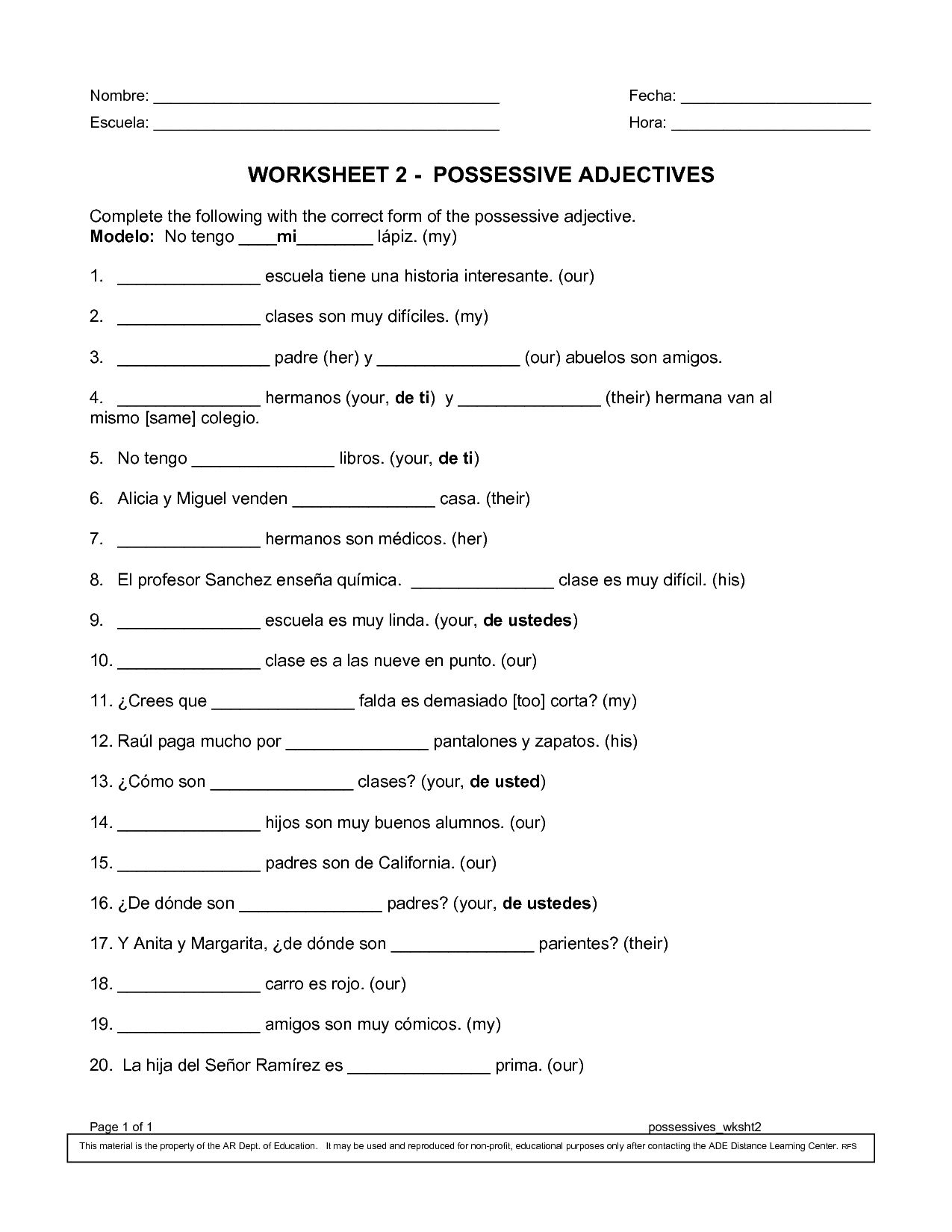 Possessive Adjectives Pronouns Worksheet