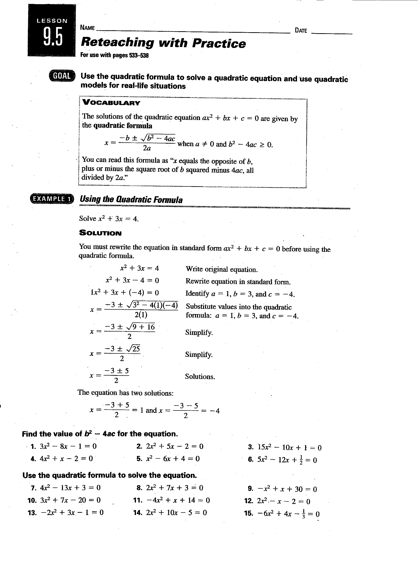 Quadratic Formula Practice Worksheet Algebra 2