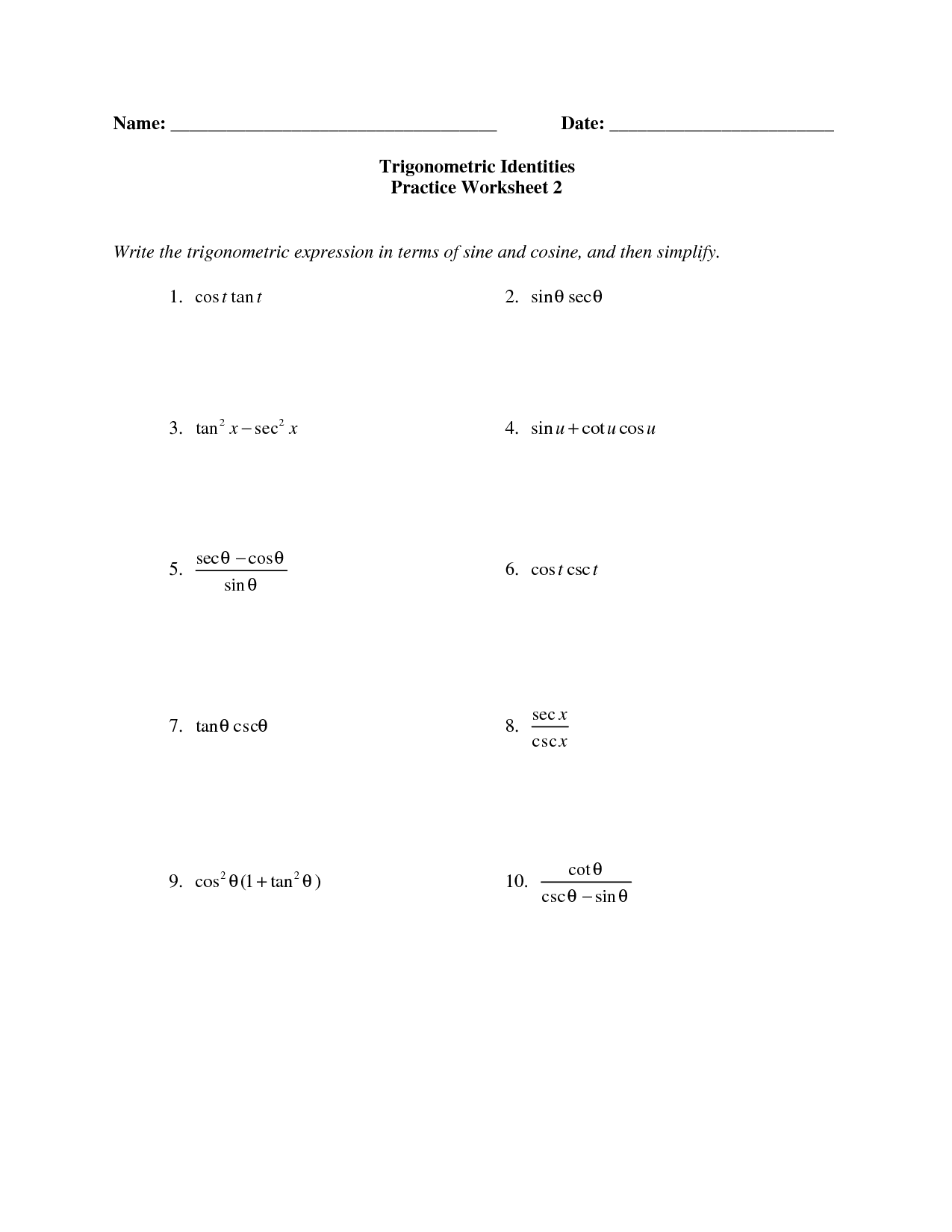 Solving Trigonometric Equations Answer Key
