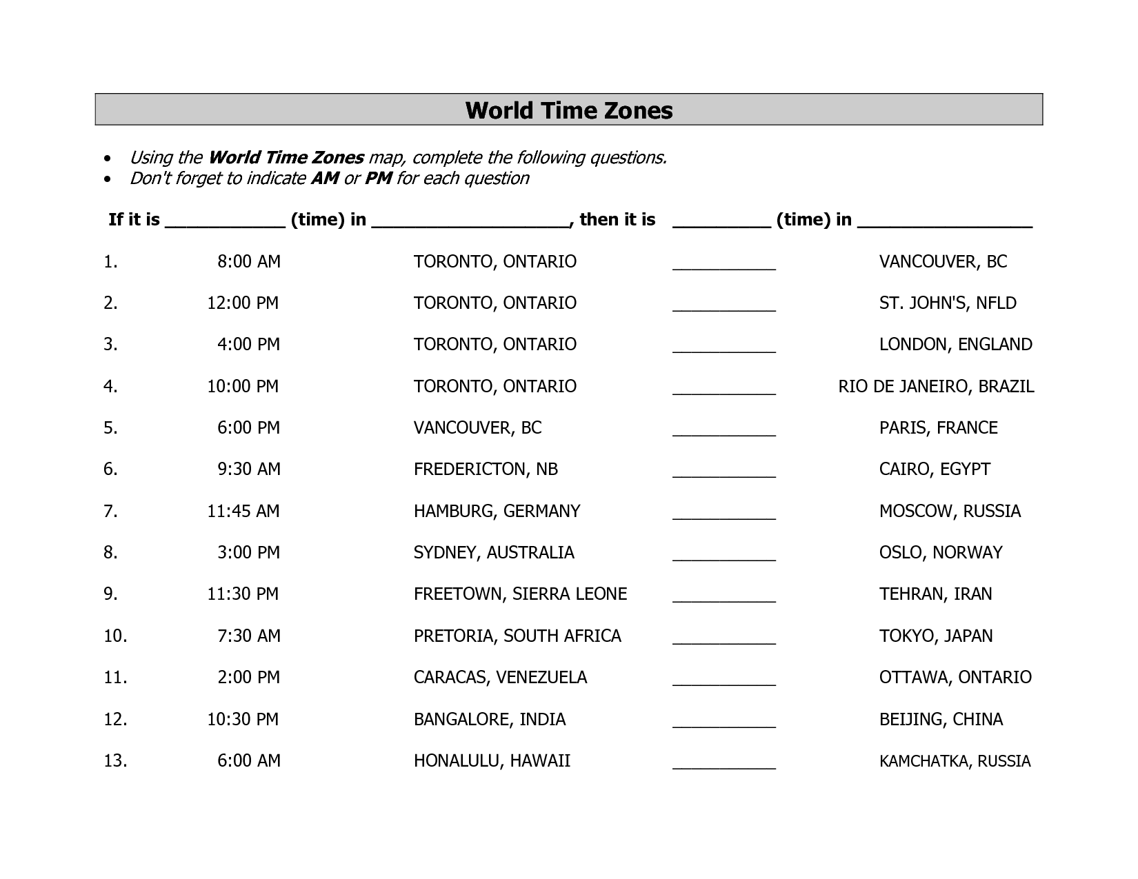 Calculating Time Zones Worksheet