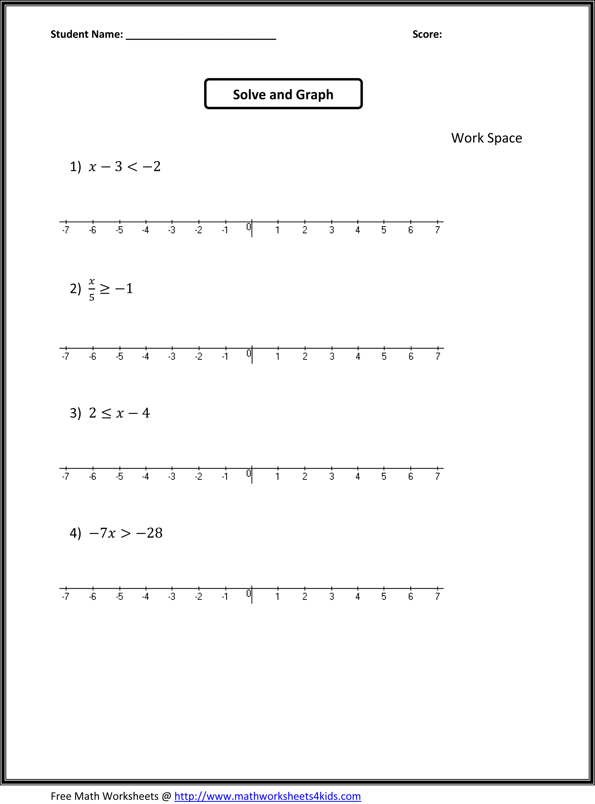 Math Fill In The Blank Worksheet