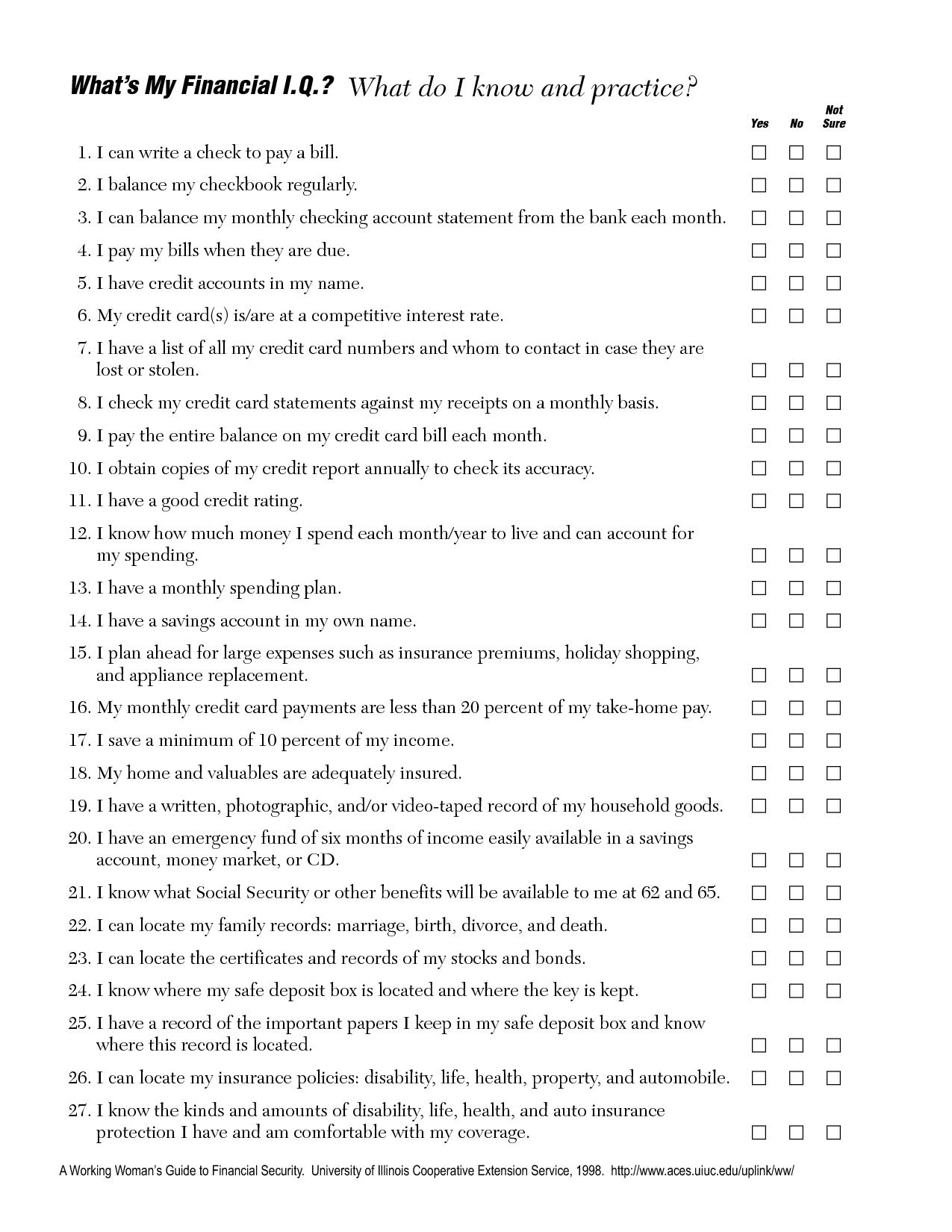 Balancing Checkbook Worksheet