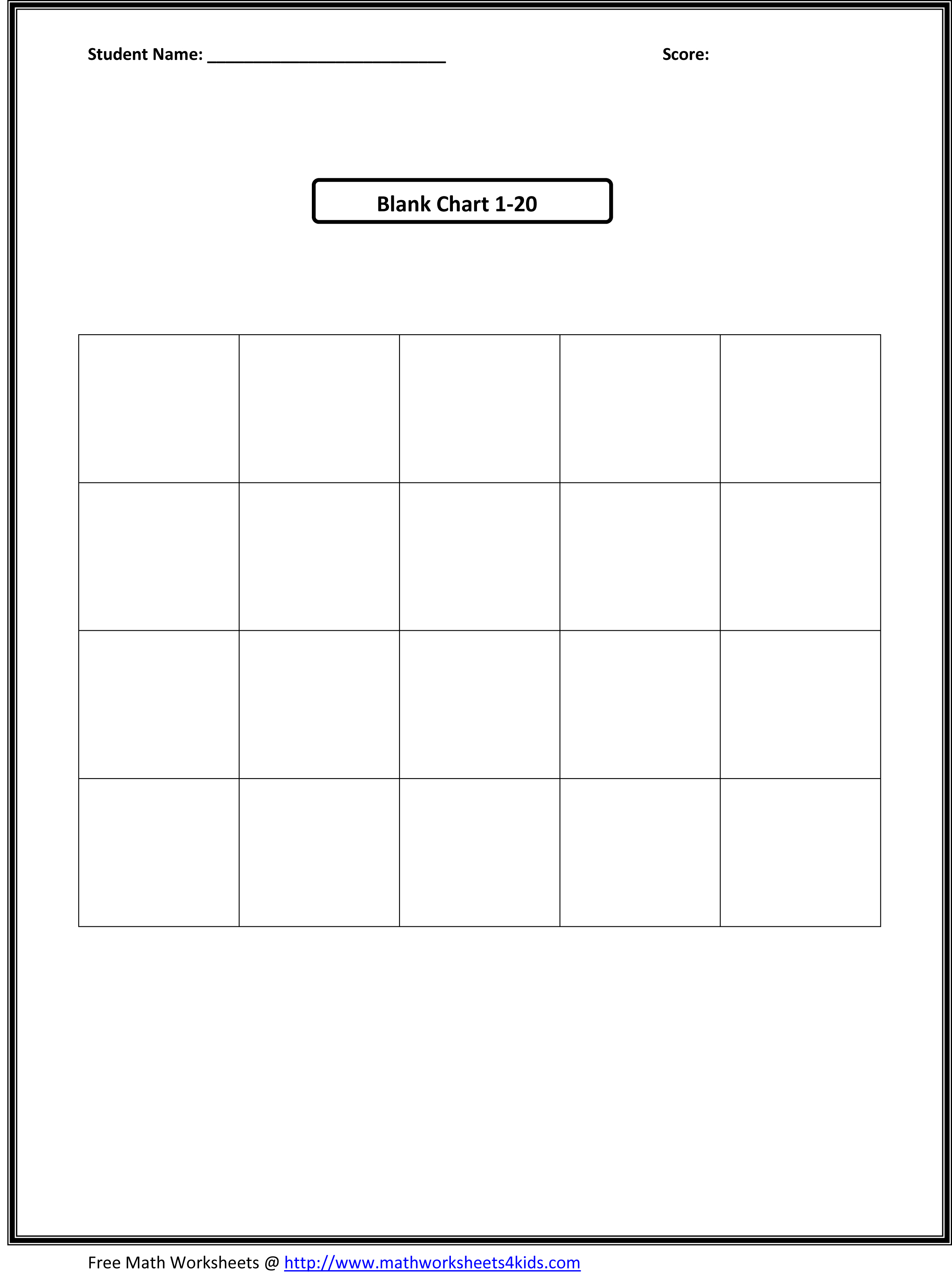 Blank Math Worksheet Addition
