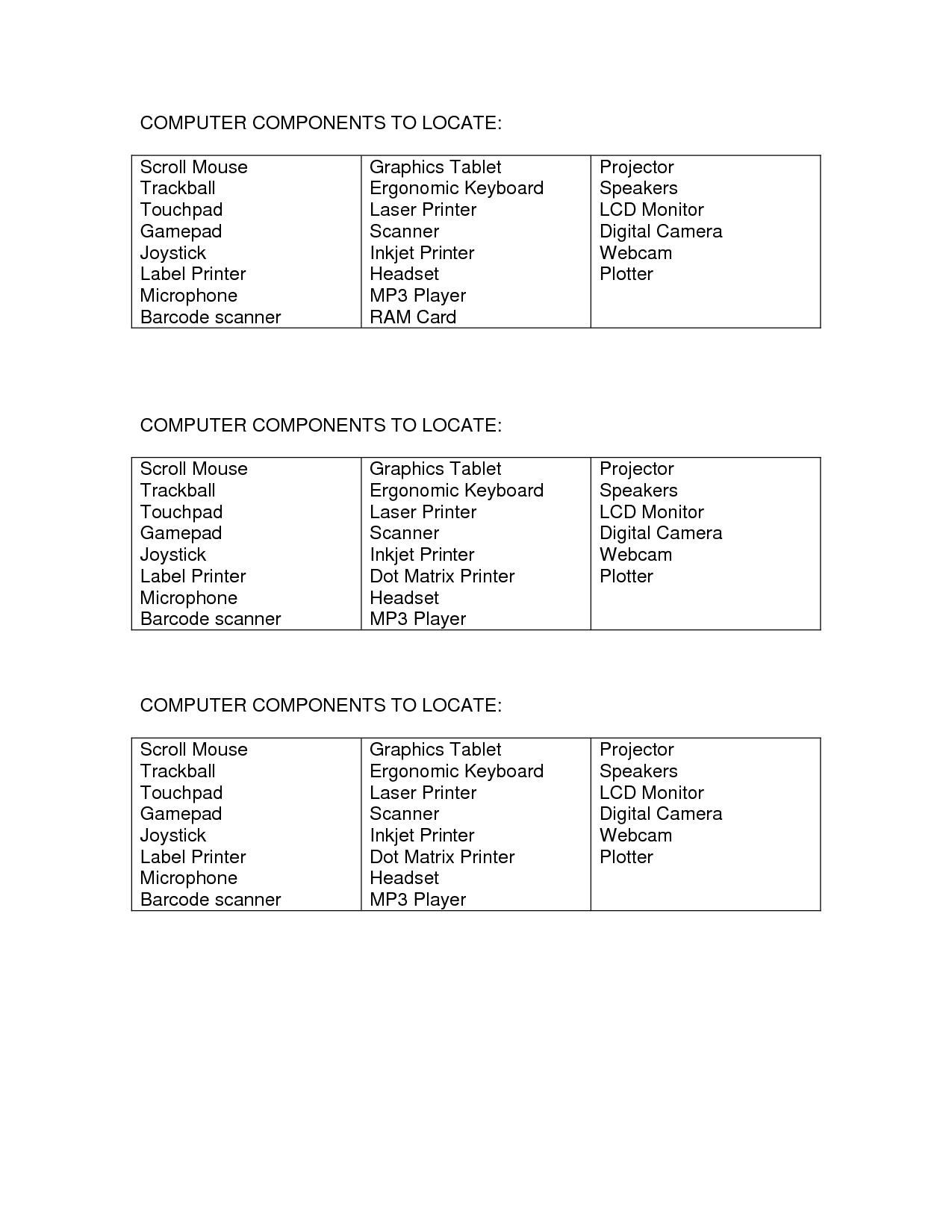 Computer Hardware Worksheet Printables