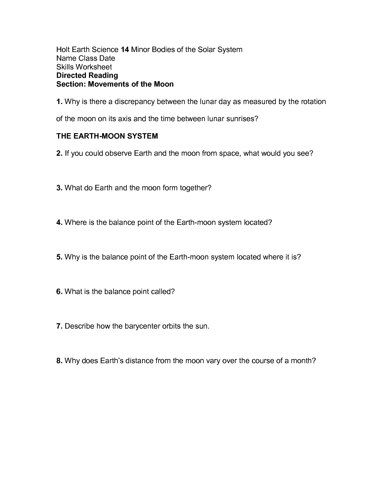 34 Skills Worksheet Directed Reading A Answer Key