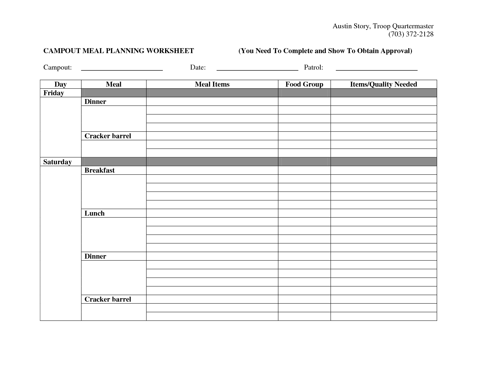 10 Best Images Of Menu Planning Worksheet