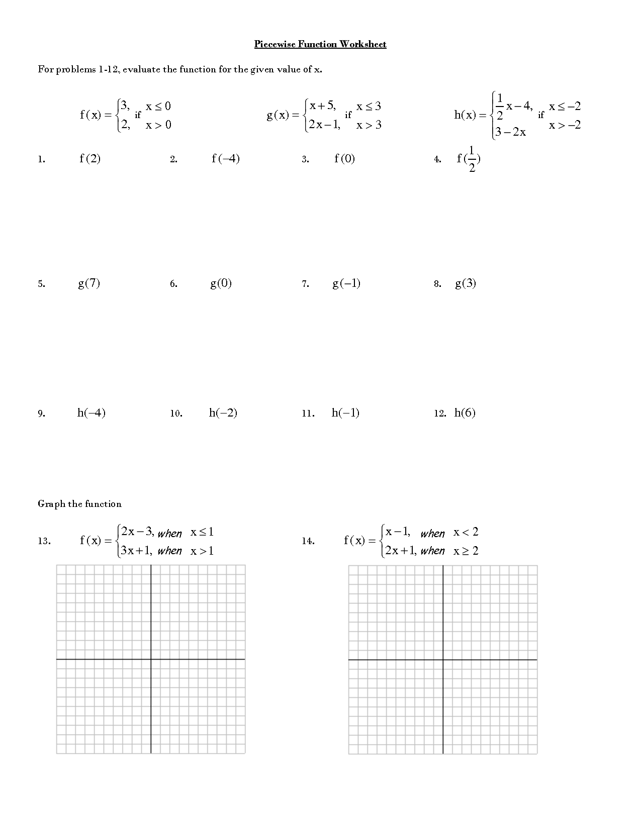 Graphing Piecewise Functions Worksheet With Answers