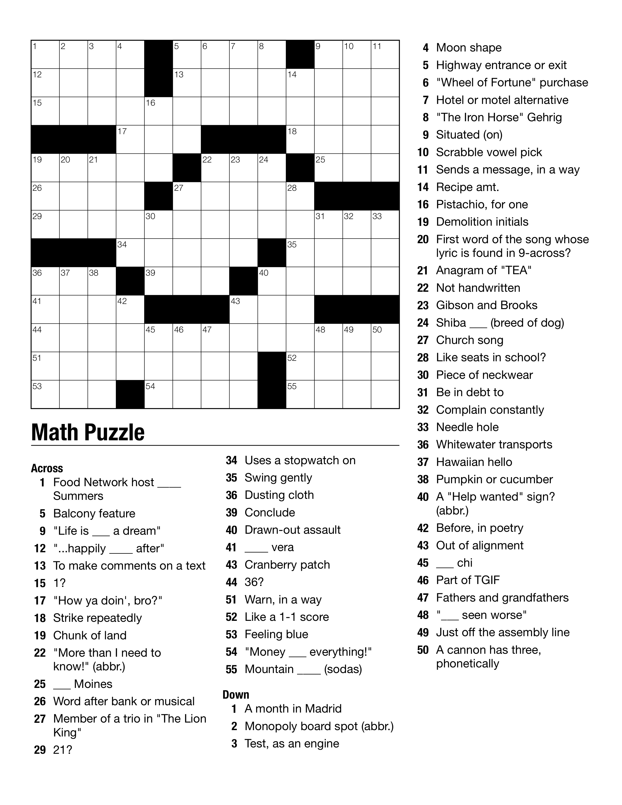 Printable Vocabulary Crosswords High School