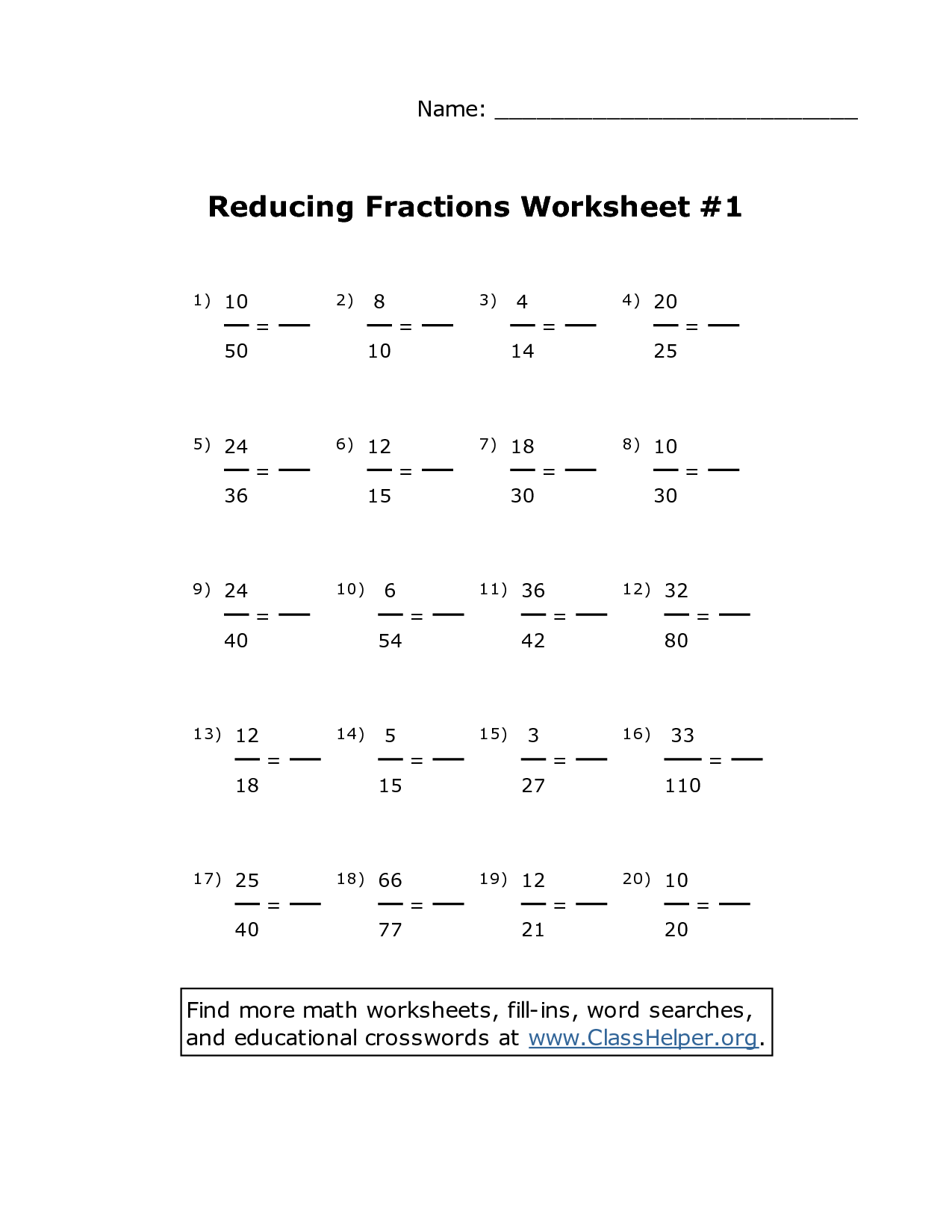 10th Grade Fractions Worksheet