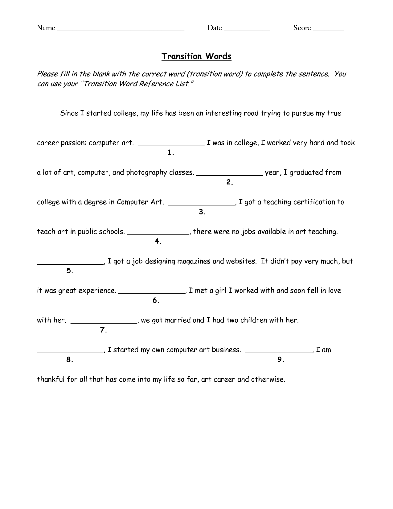 Transition Words Worksheet Middle School