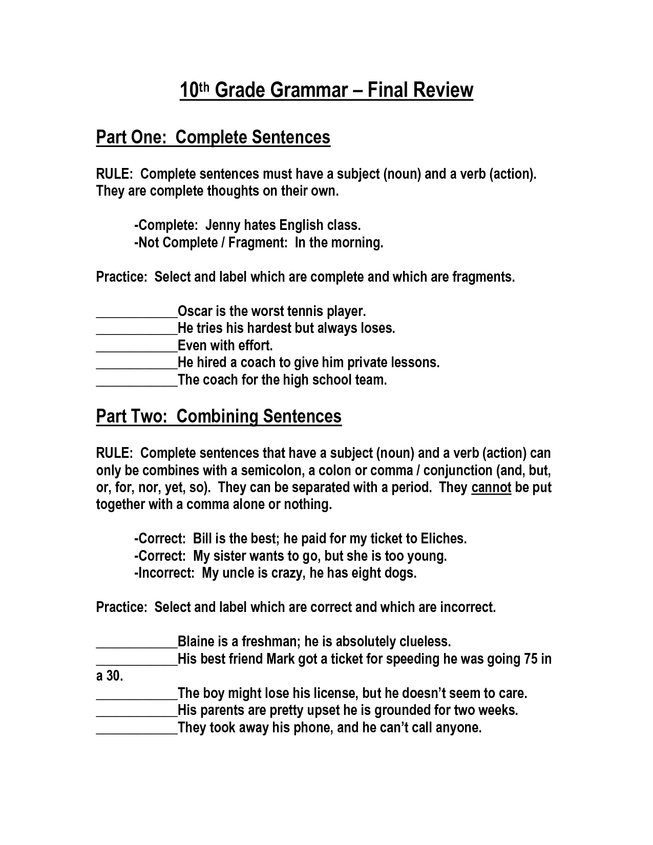 5 Grade English Worksheets 16 Best Images Of 10 Grade