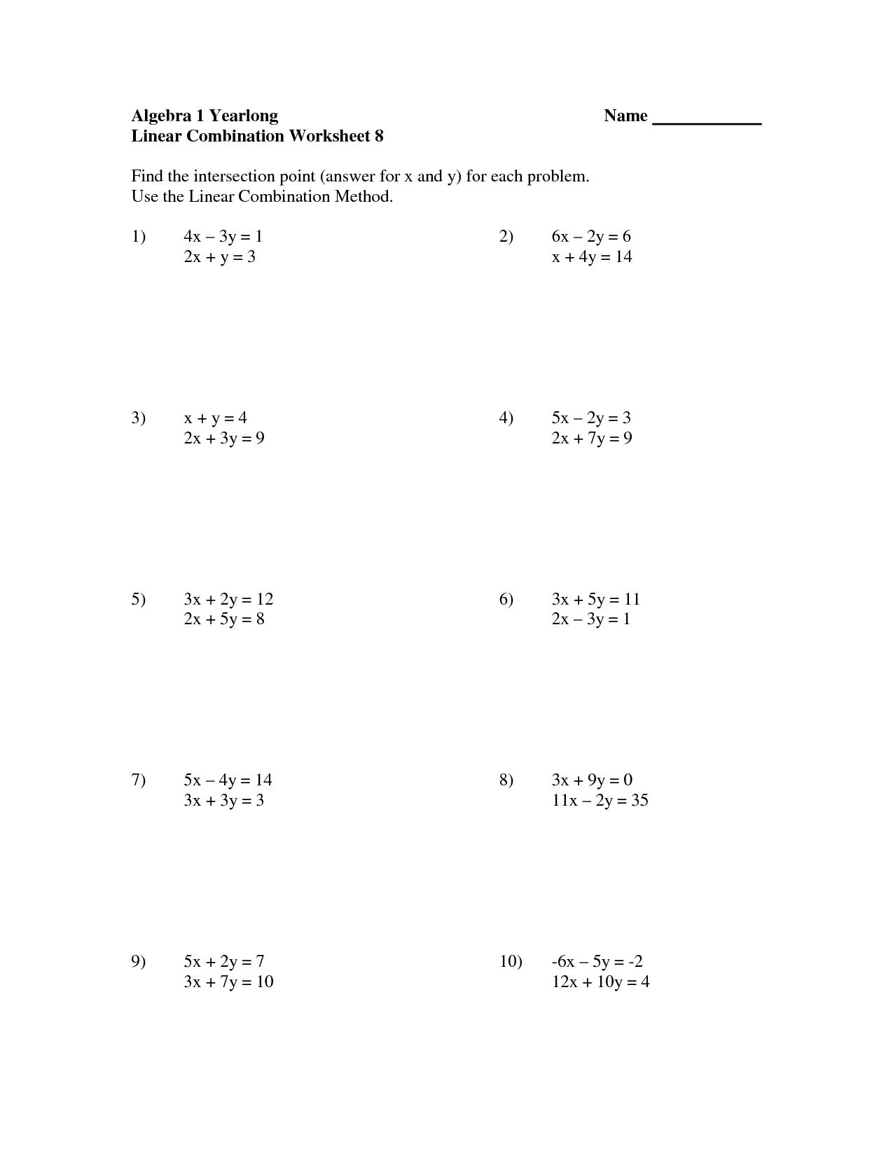 10 Best Images Of Graphing Equations Worksheet