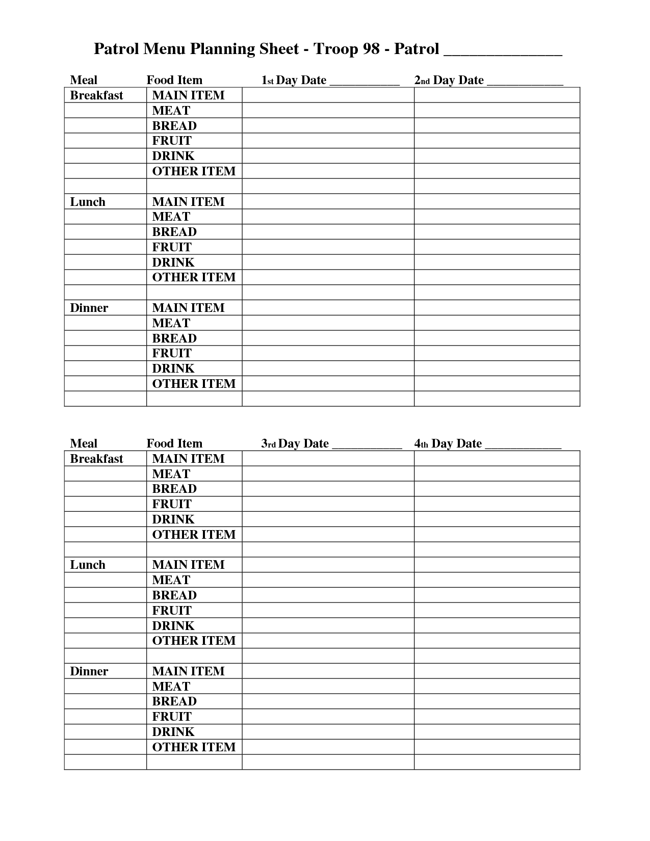 18 Best Images Of Meal Plan Worksheet