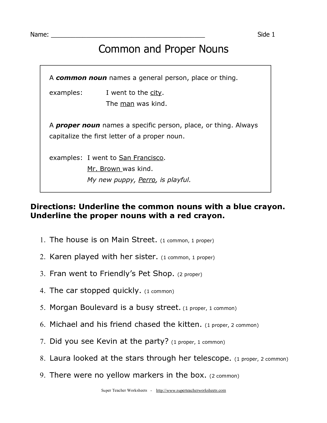 Common Proper Nouns Worksheet