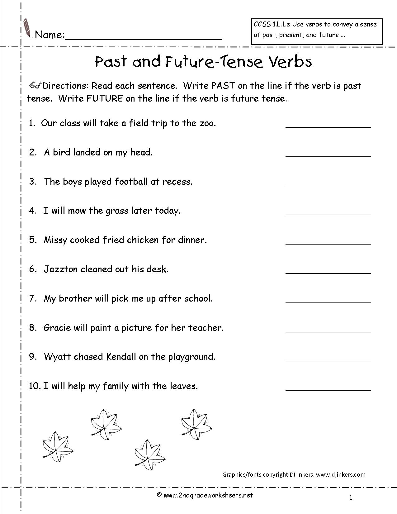 Worksheet Past Present Future Simple Tense