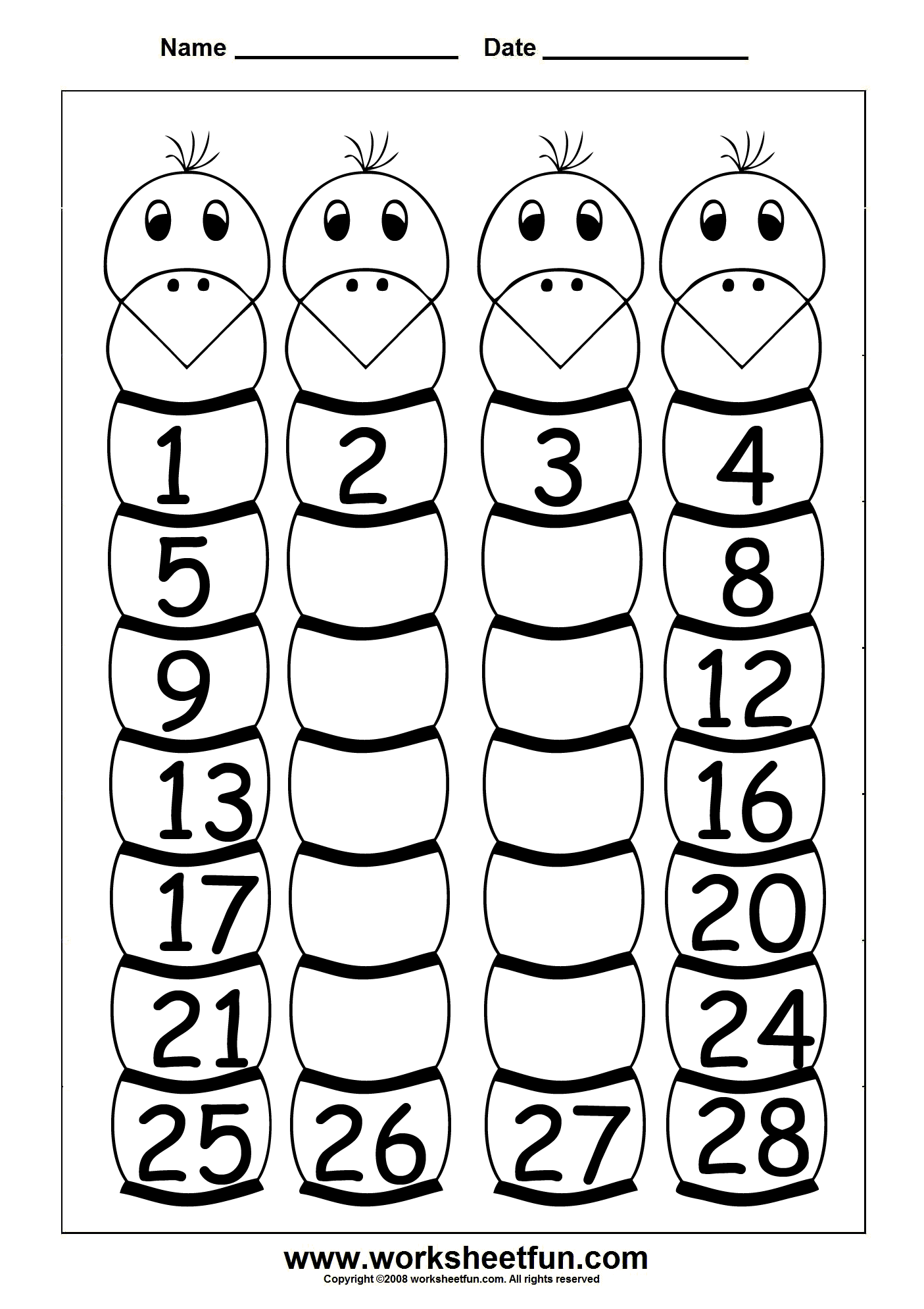 Number Worksheet Category Page 1