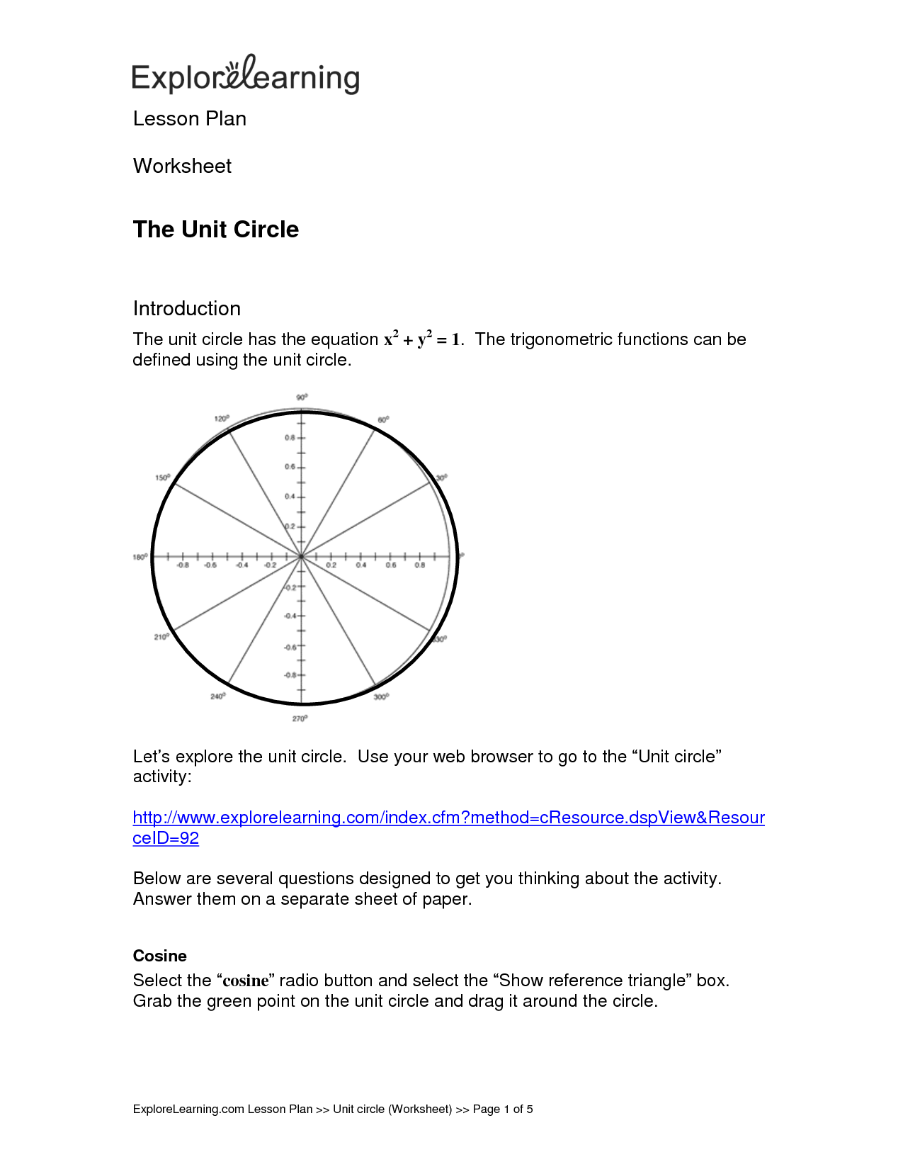 Unit Circle Worksheet Key