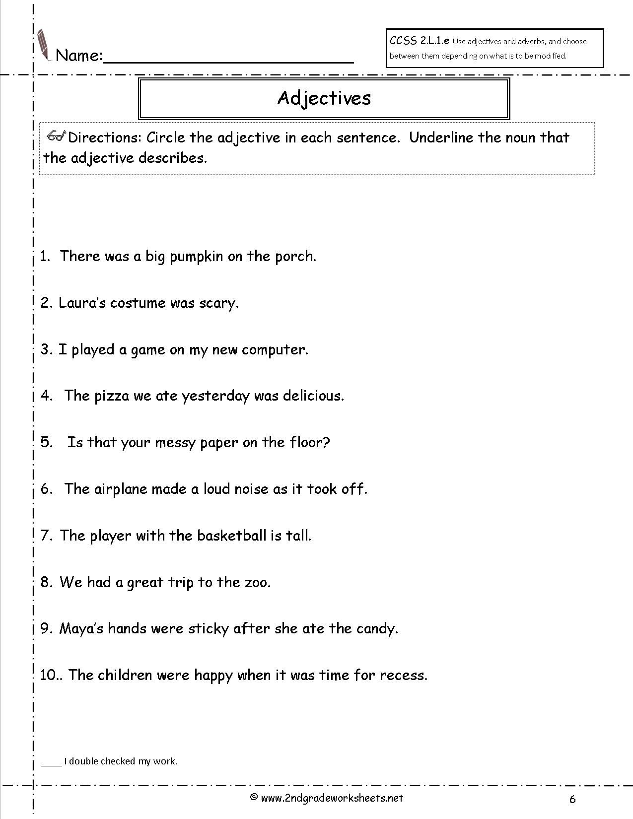 13 Best Images Of Free Worksheets Using Adjectives