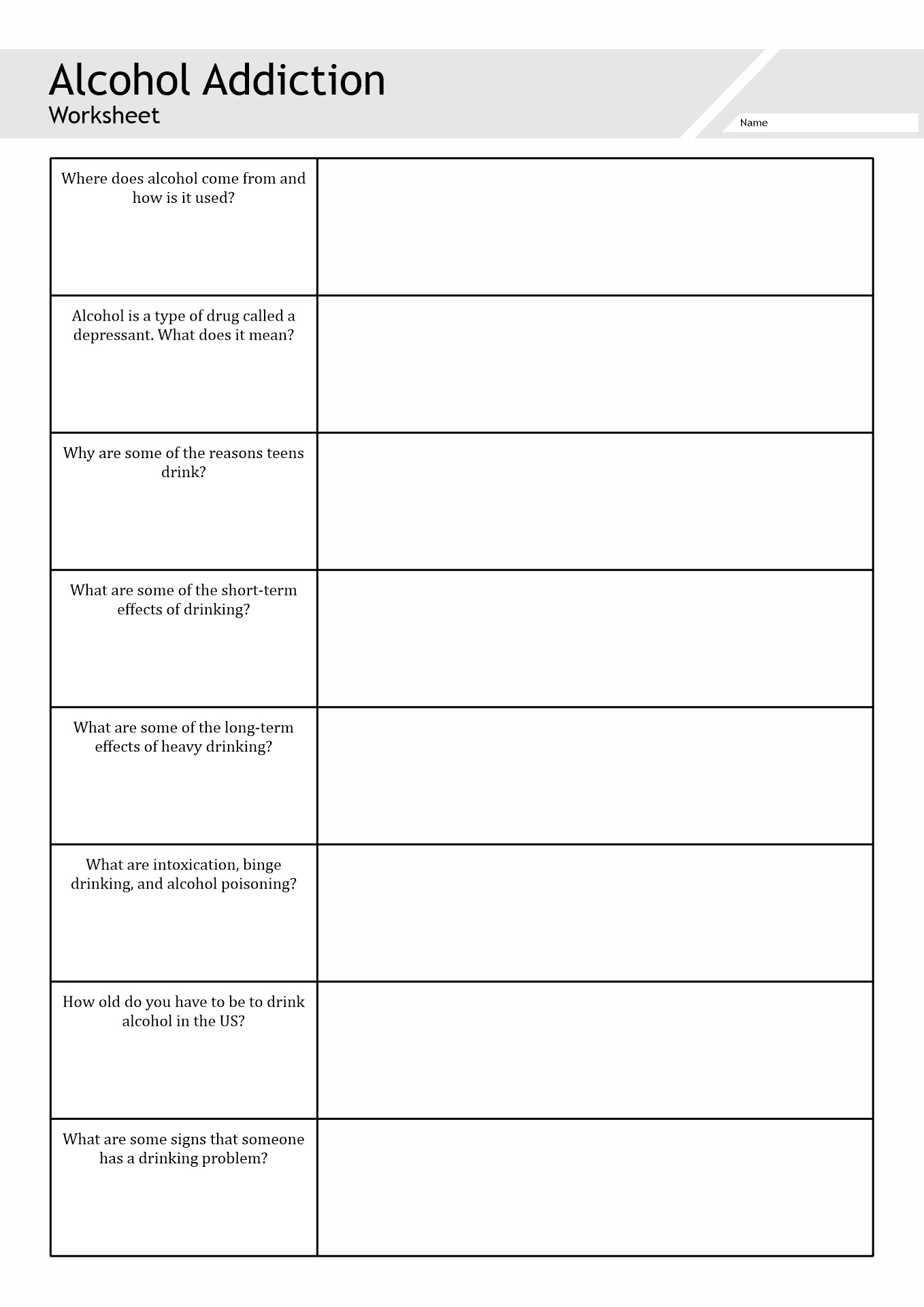 Addictions Worksheet For Adults