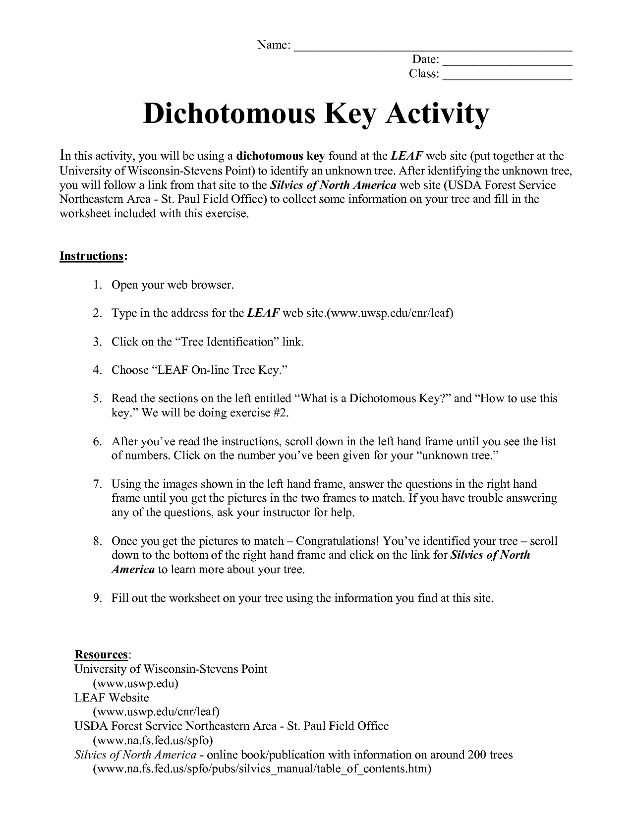 Easy Dichotomous Key Worksheet Dichotomous Worksheet