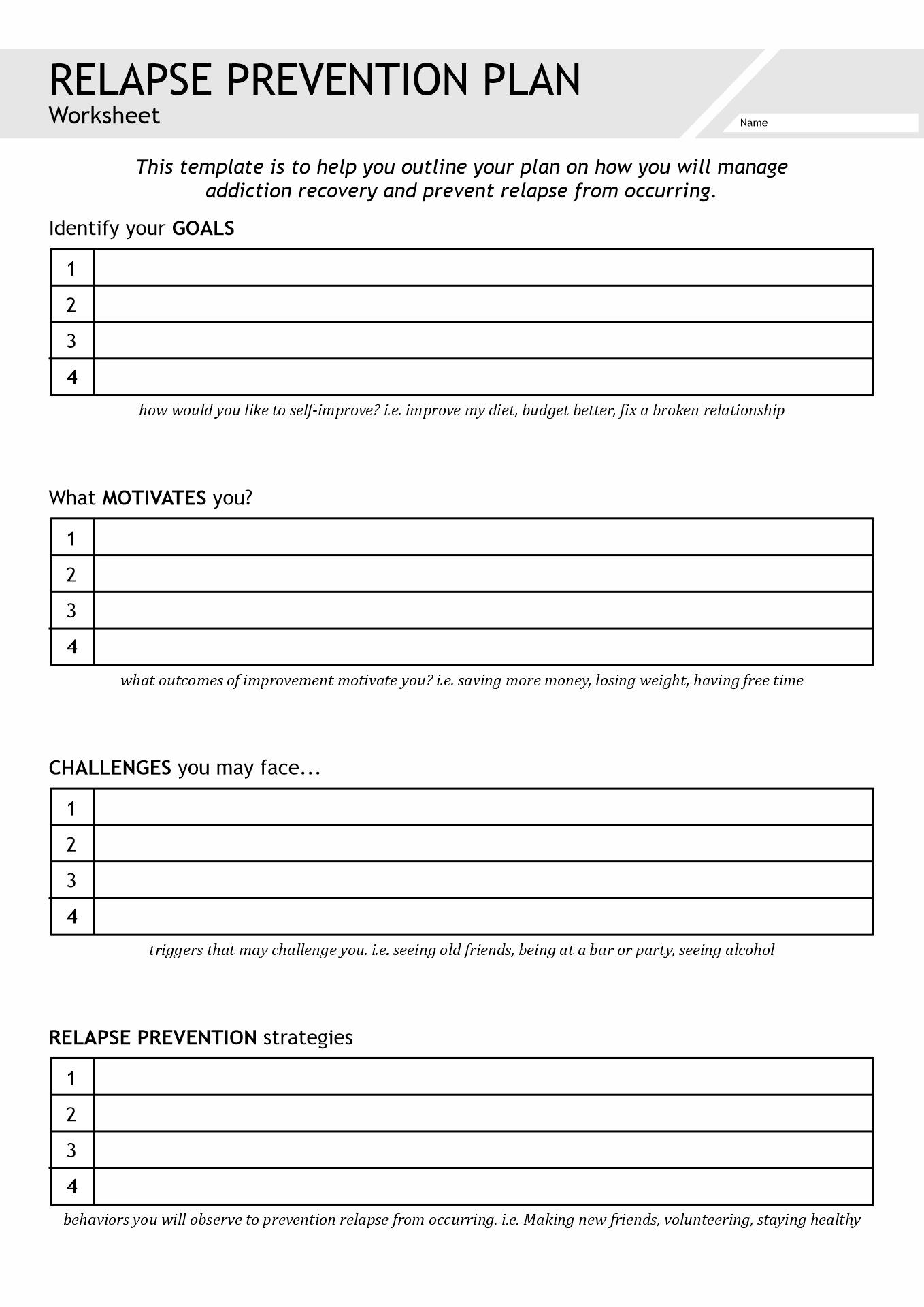 20 Best Images Of Printable Substance Abuse Worksheets
