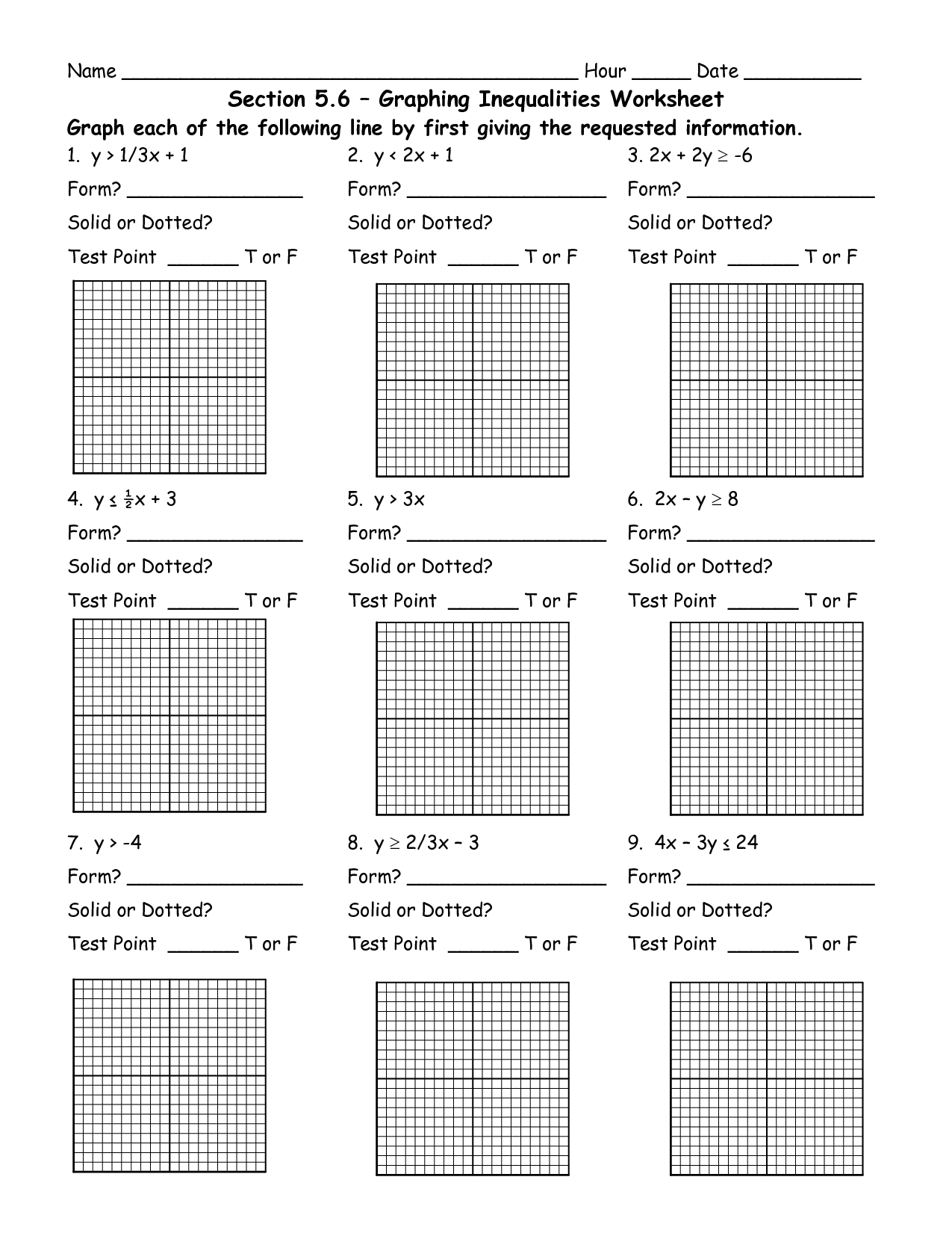 Inequalities Graphs Worksheet