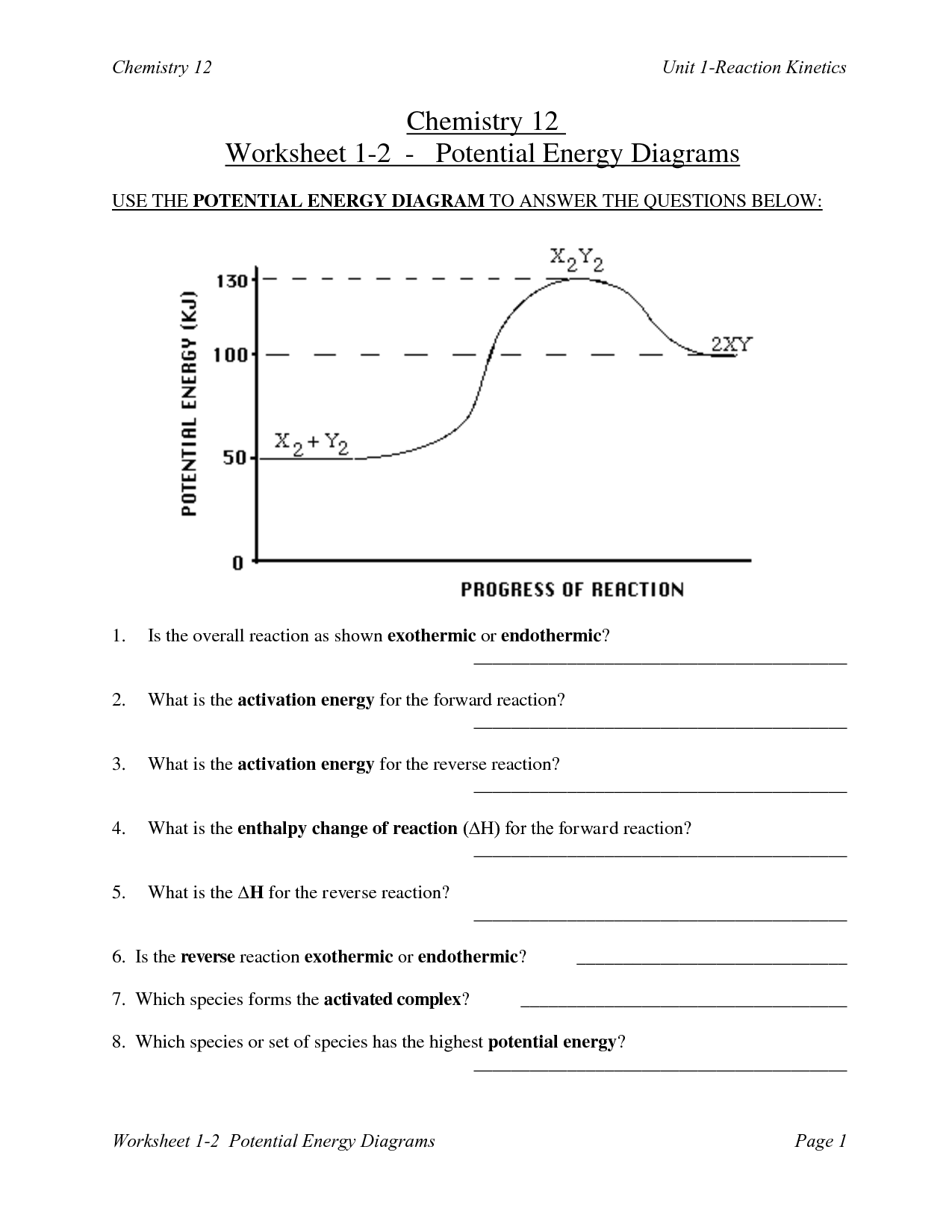 10 Best Images Of Kinetic Energy Worksheet With Answers