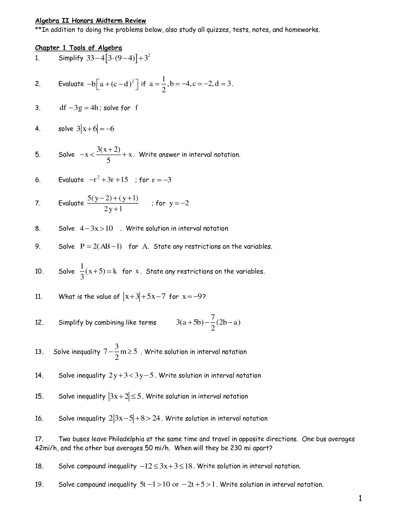 14 Best Images Of Holt Algebra Worksheets