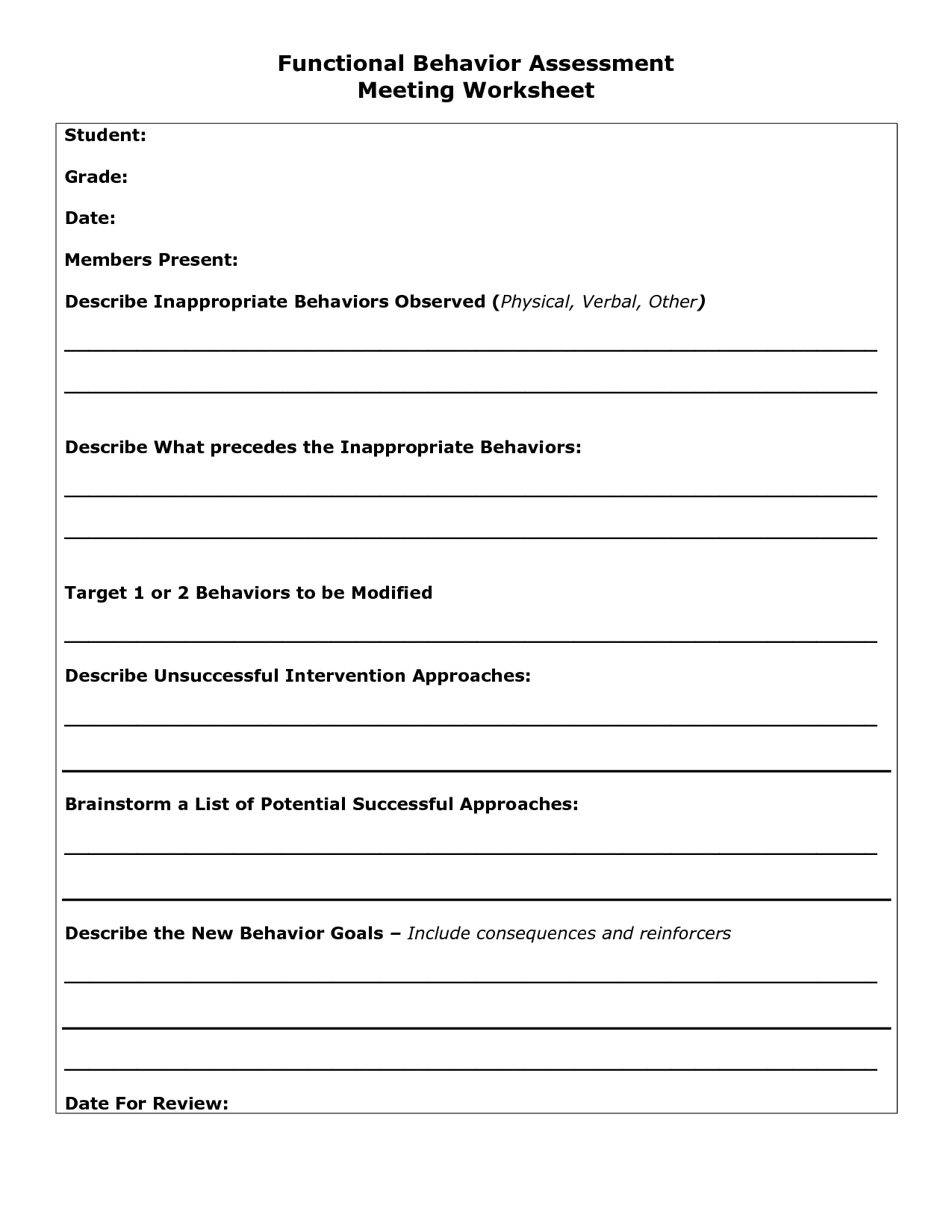7 Best Images Of Worksheets For Students On Behavior