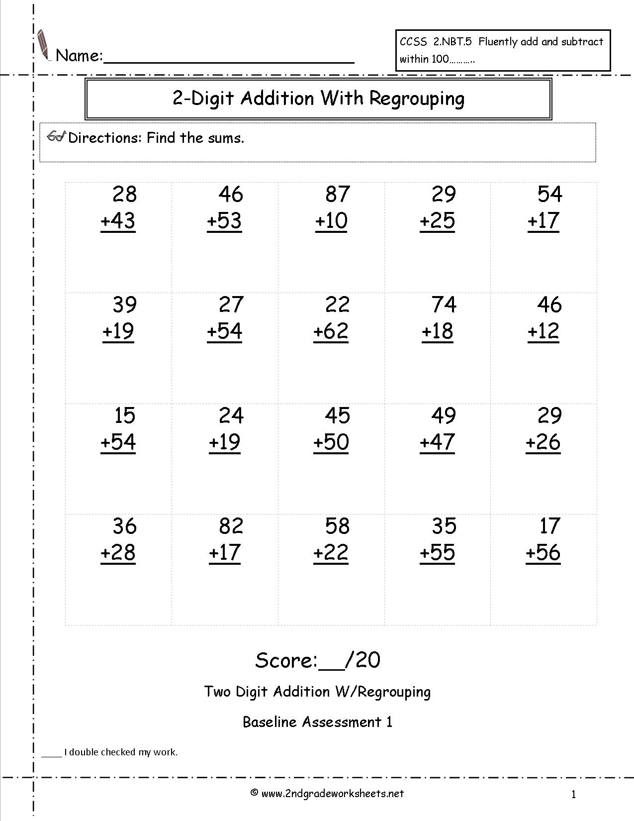 Simple Addition 3 Digit Worksheet